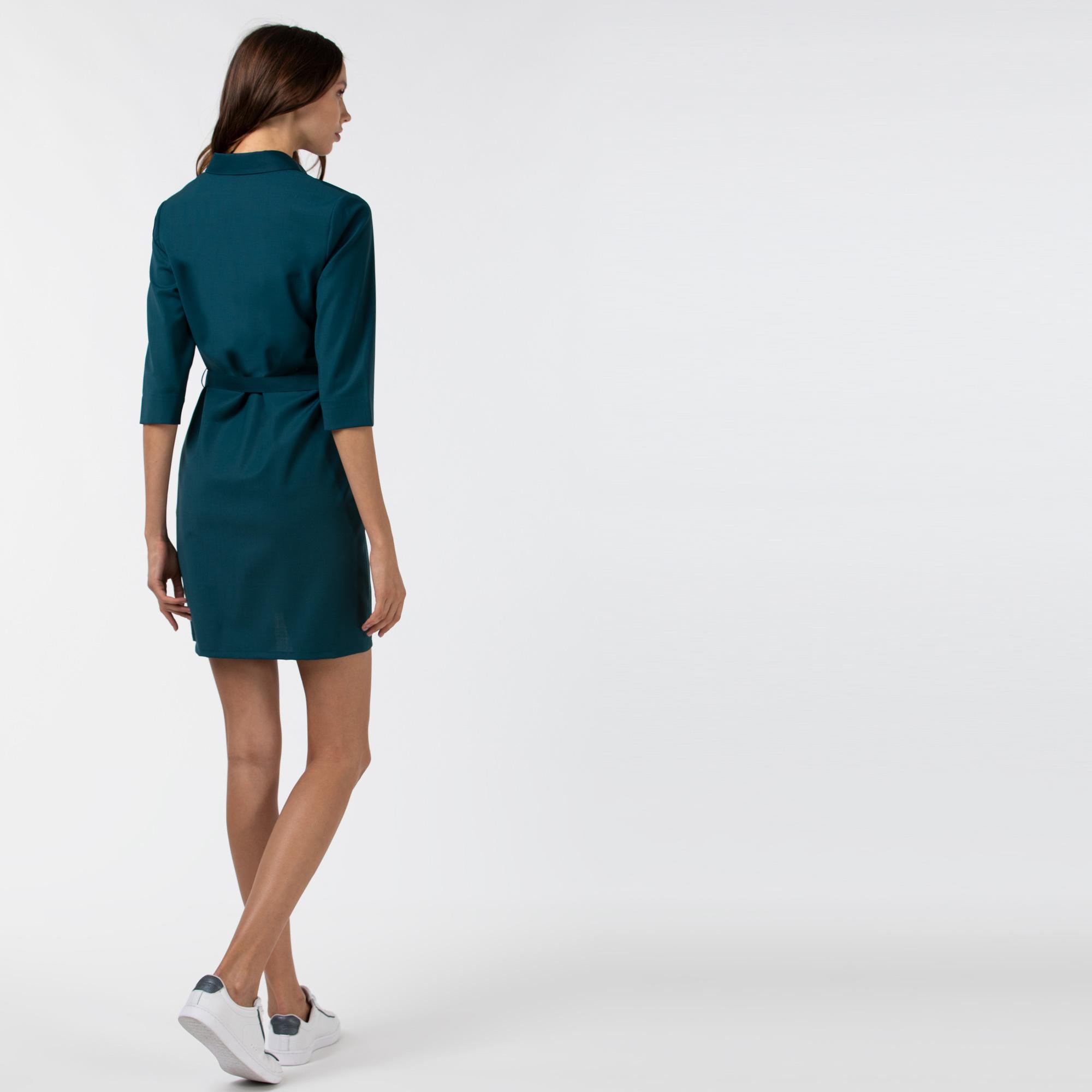 Lacoste Kadın Gömlek Yaka Truvakar Kollu Yeşil Elbise