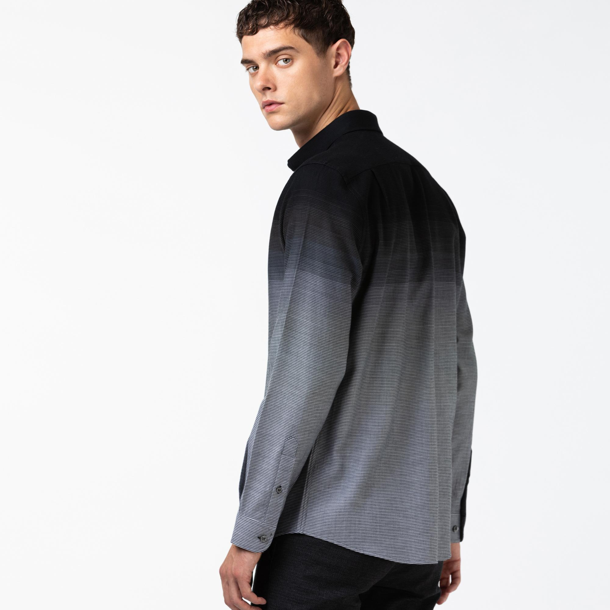 Lacoste Erkek Slim Fit Blok Desenli Siyah Gömlek