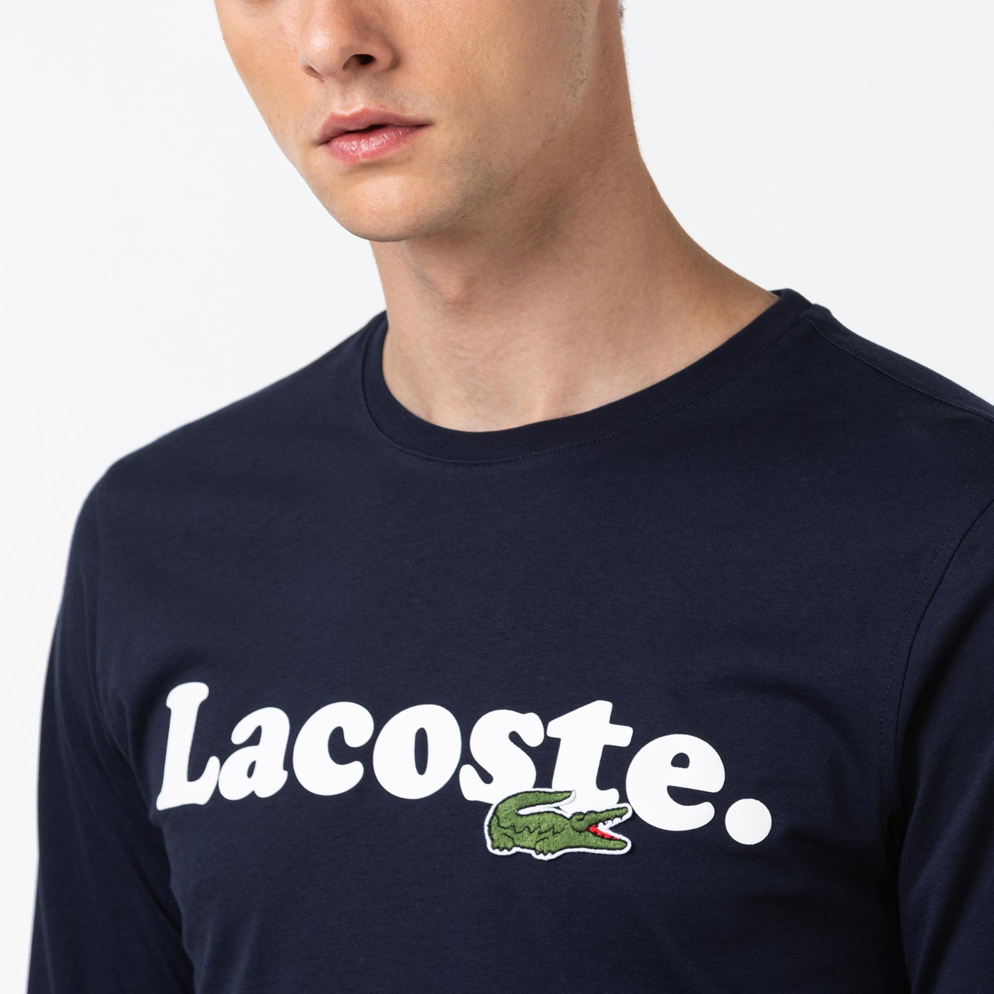Lacoste Erkek Baskılı Uzun Kollu Lacivert T-Shirt