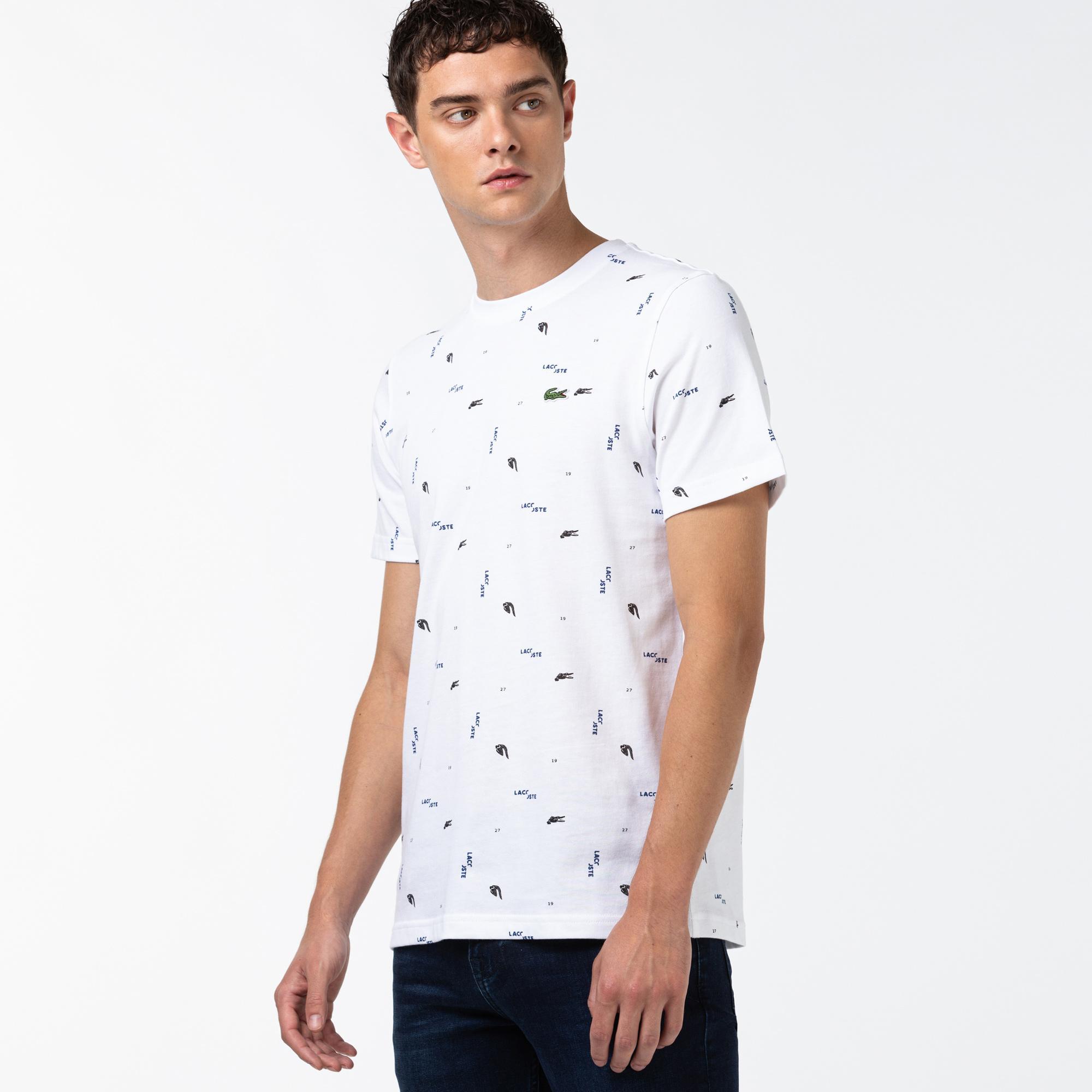 Lacoste L!VE Erkek Baskılı Bisiklet Yaka  Beyaz T-Shirt