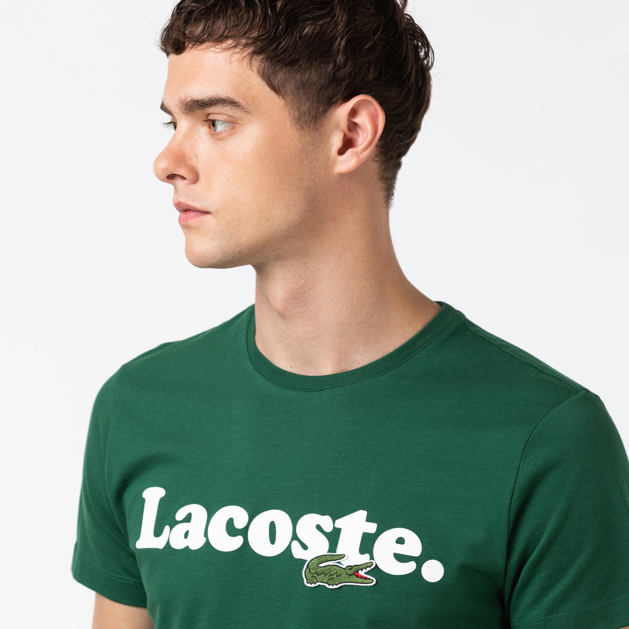 Lacoste Erkek Baskılı Bisiklet Yaka Yeşil T-Shirt