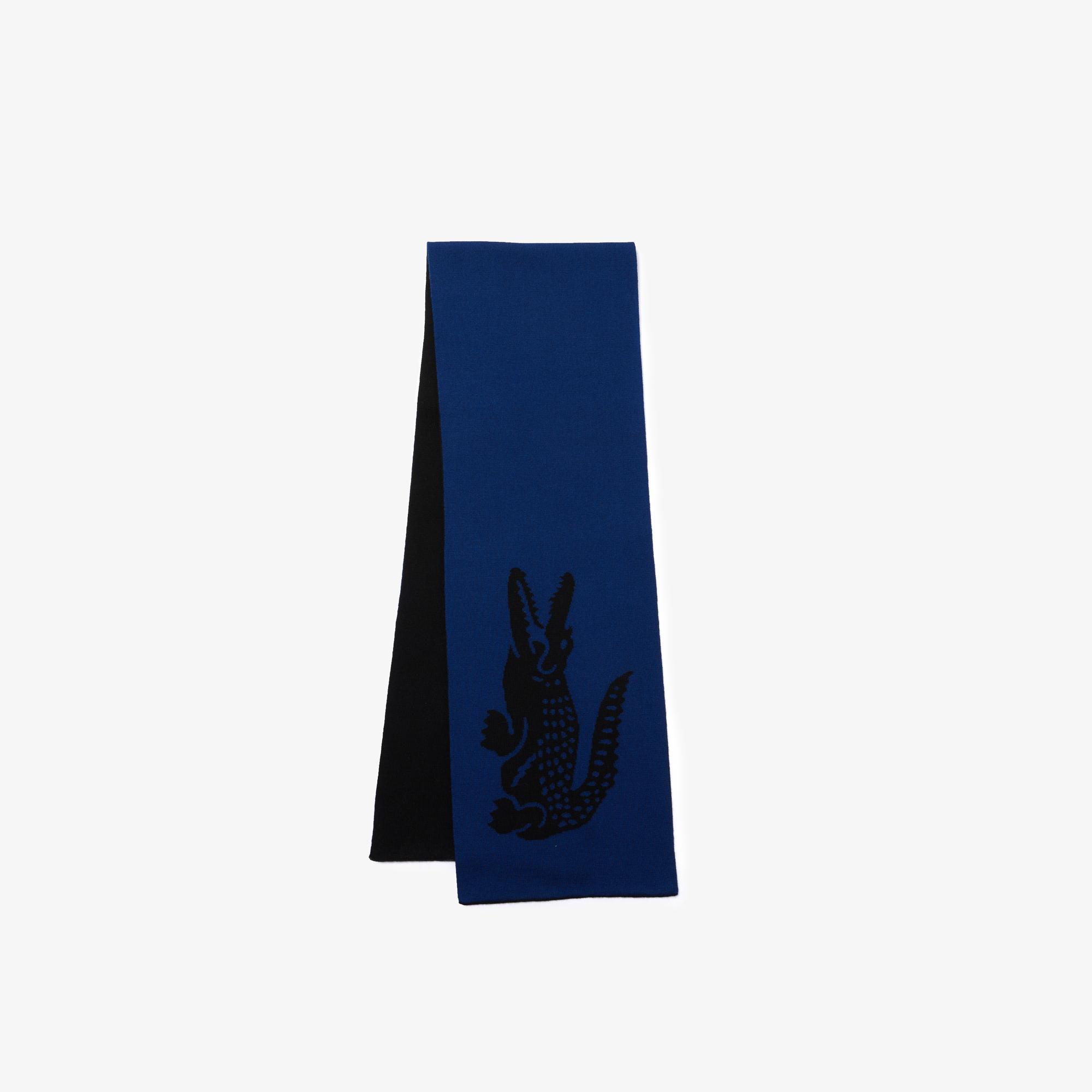 Lacoste Unisex Yün Siyah - Mavi Atkı