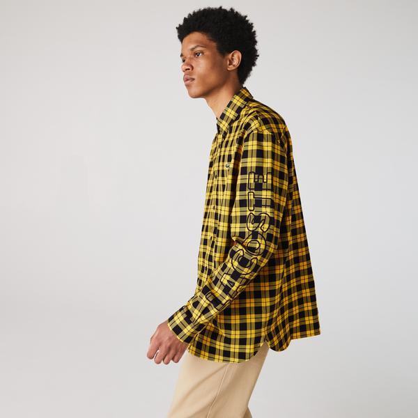 Lacoste L!VE Erkek Regular Fit Ekose Desenli Sarı Gömlek