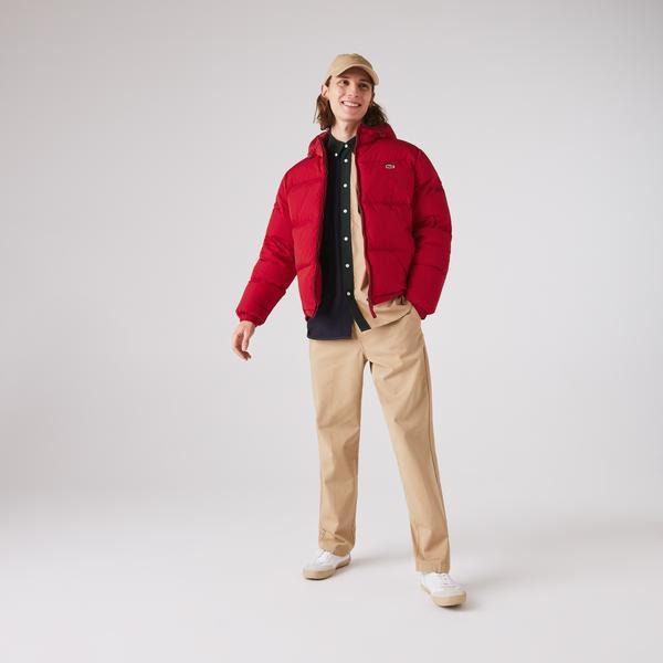 Lacoste Erkek Kapitone Suya Dayanıklı Kapüşonlu Kırmızı Mont