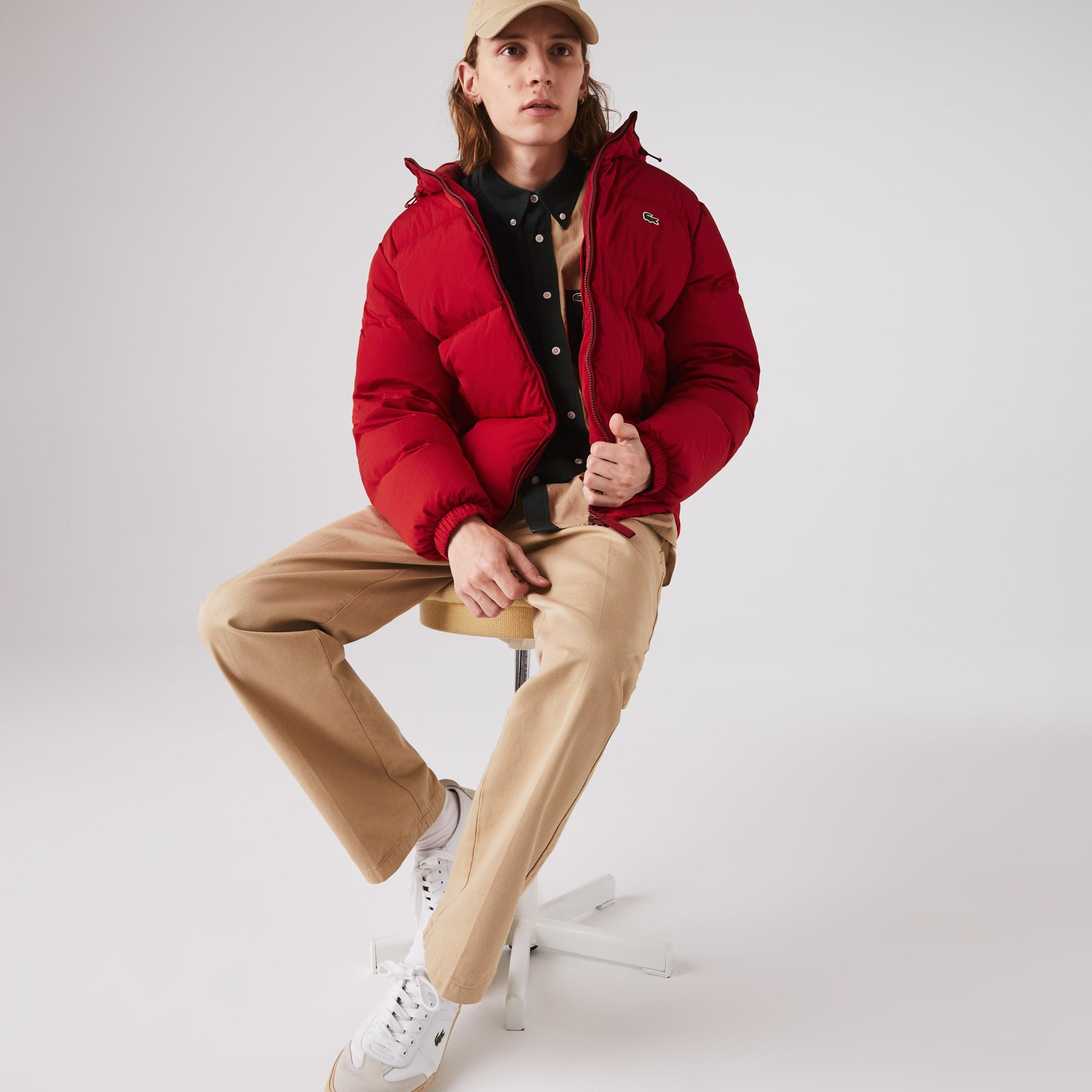 Lacoste Erkek Kapitone Kapüşonlu Kırmızı Mont