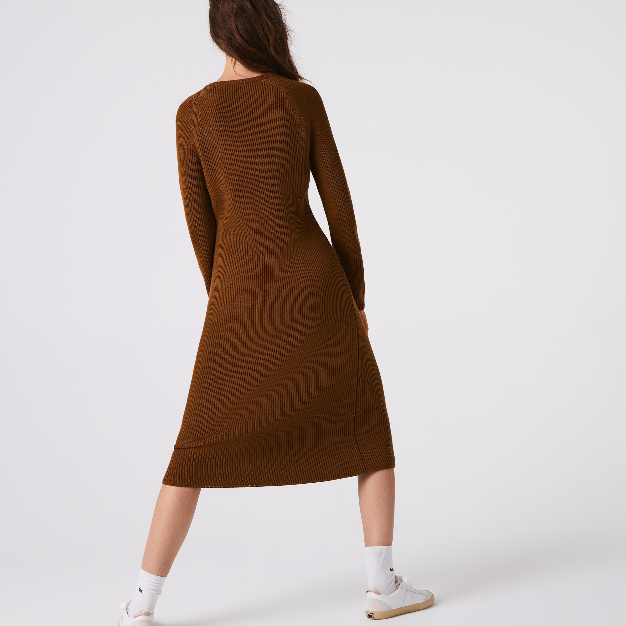 Lacoste Kadın Bisiklet Yaka Uzun Kollu Kahverengi Elbise