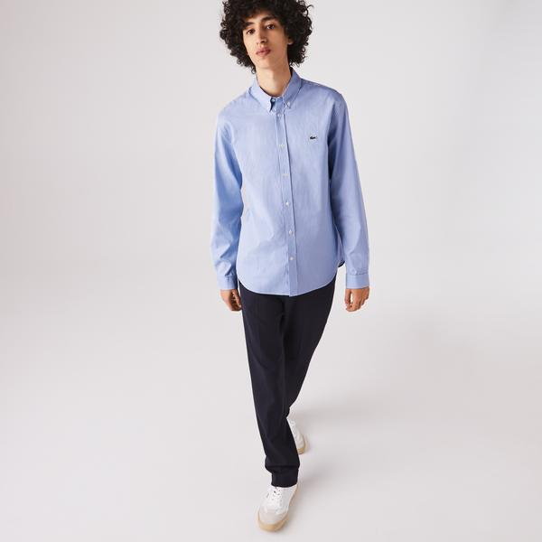 Lacoste Erkek Regular Fit Ekose Desenli Mavi Gömlek