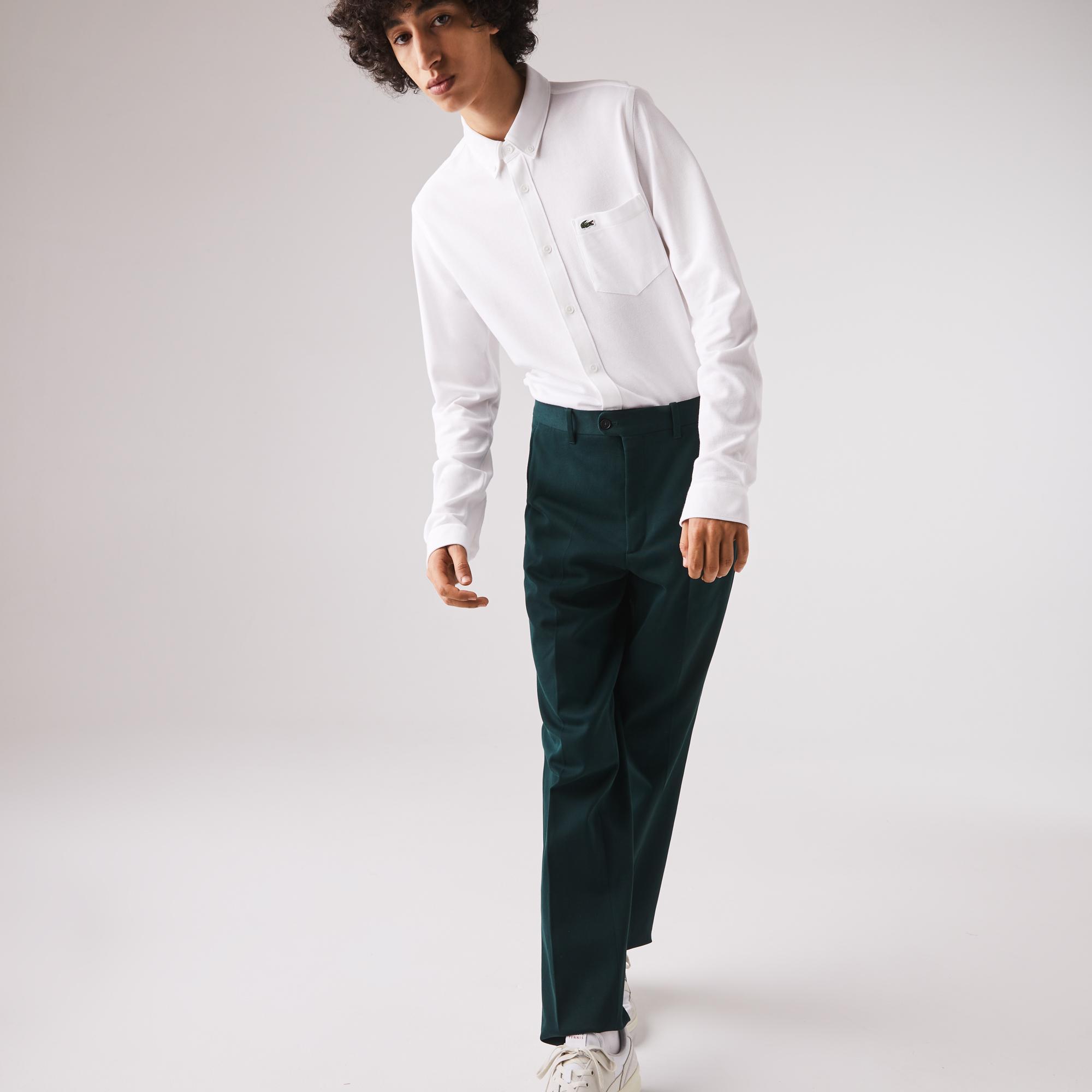 Lacoste Erkek Slim Fit Düğmeli Yaka Beyaz Gömlek