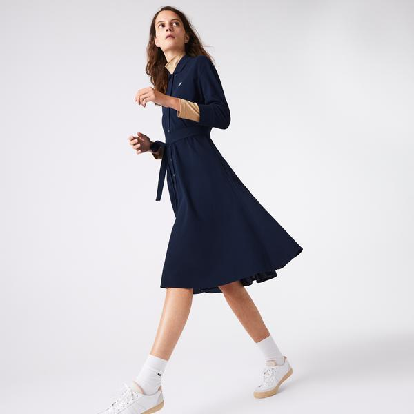 Lacoste Kadın Polo Yaka Uzun Kollu Lacivert Elbise