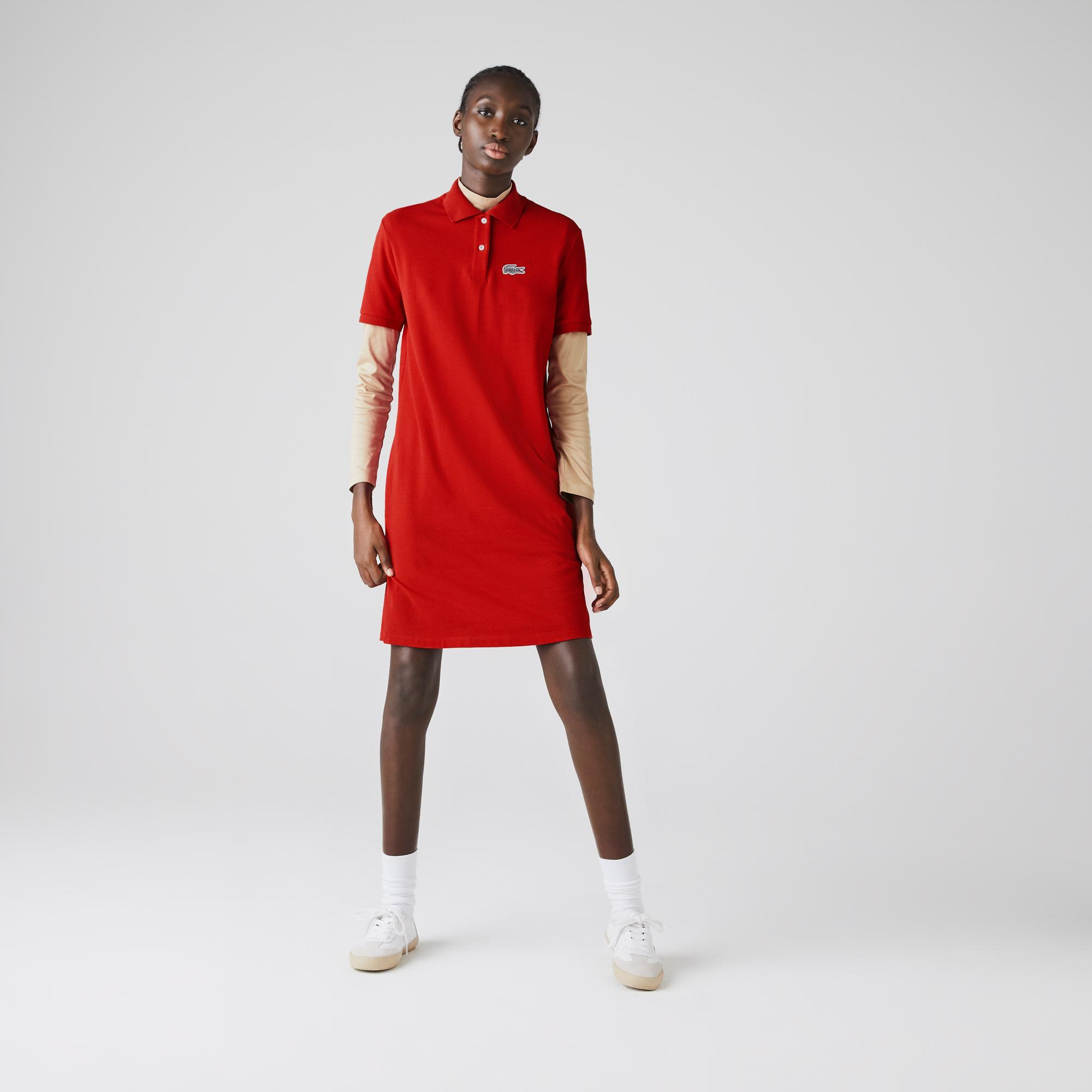 Lacoste x National Geographic Kadın Polo Yaka Kısa Kollu Kırmızı Elbise