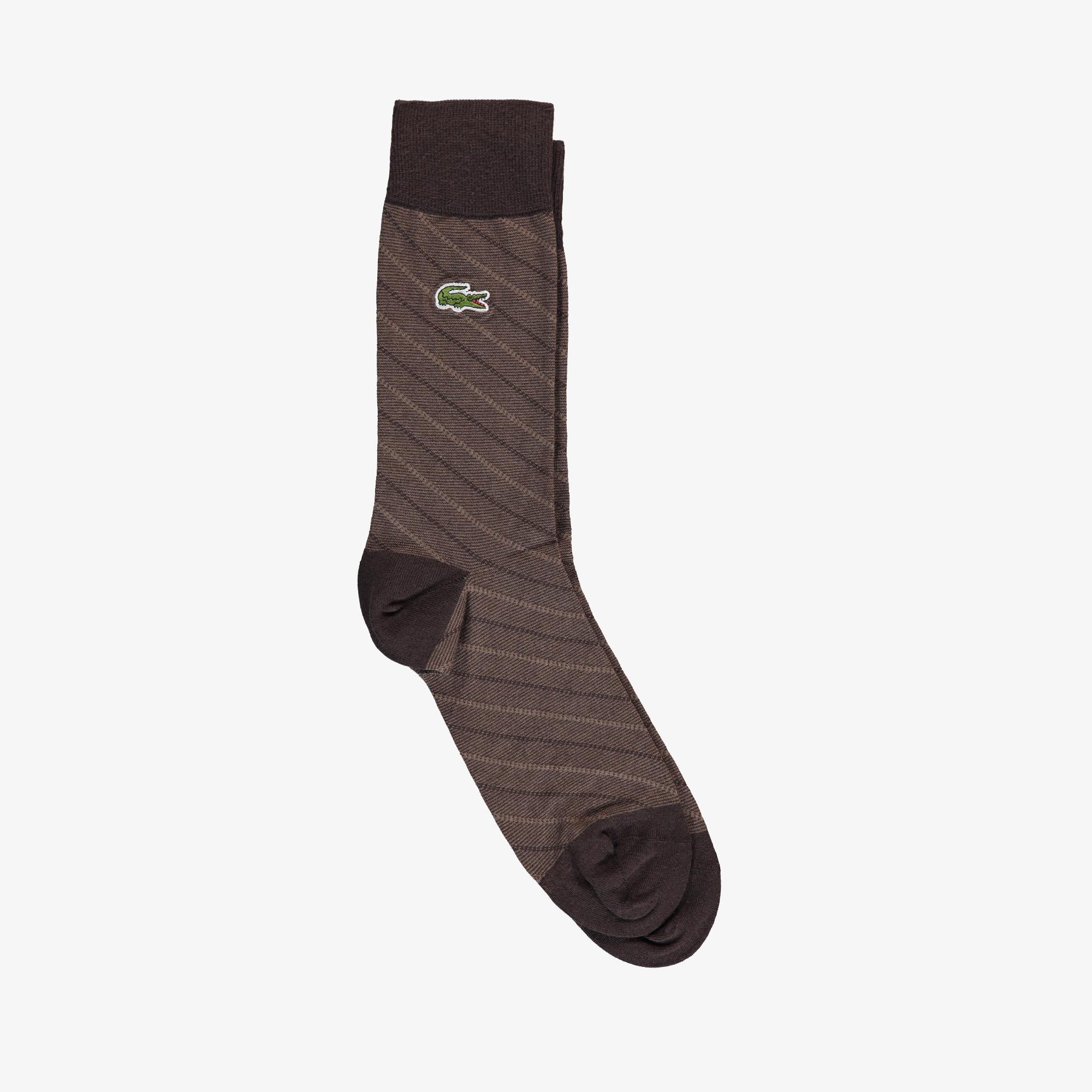 Lacoste Unisex Çizgili Uzun Kahverengi Çorap