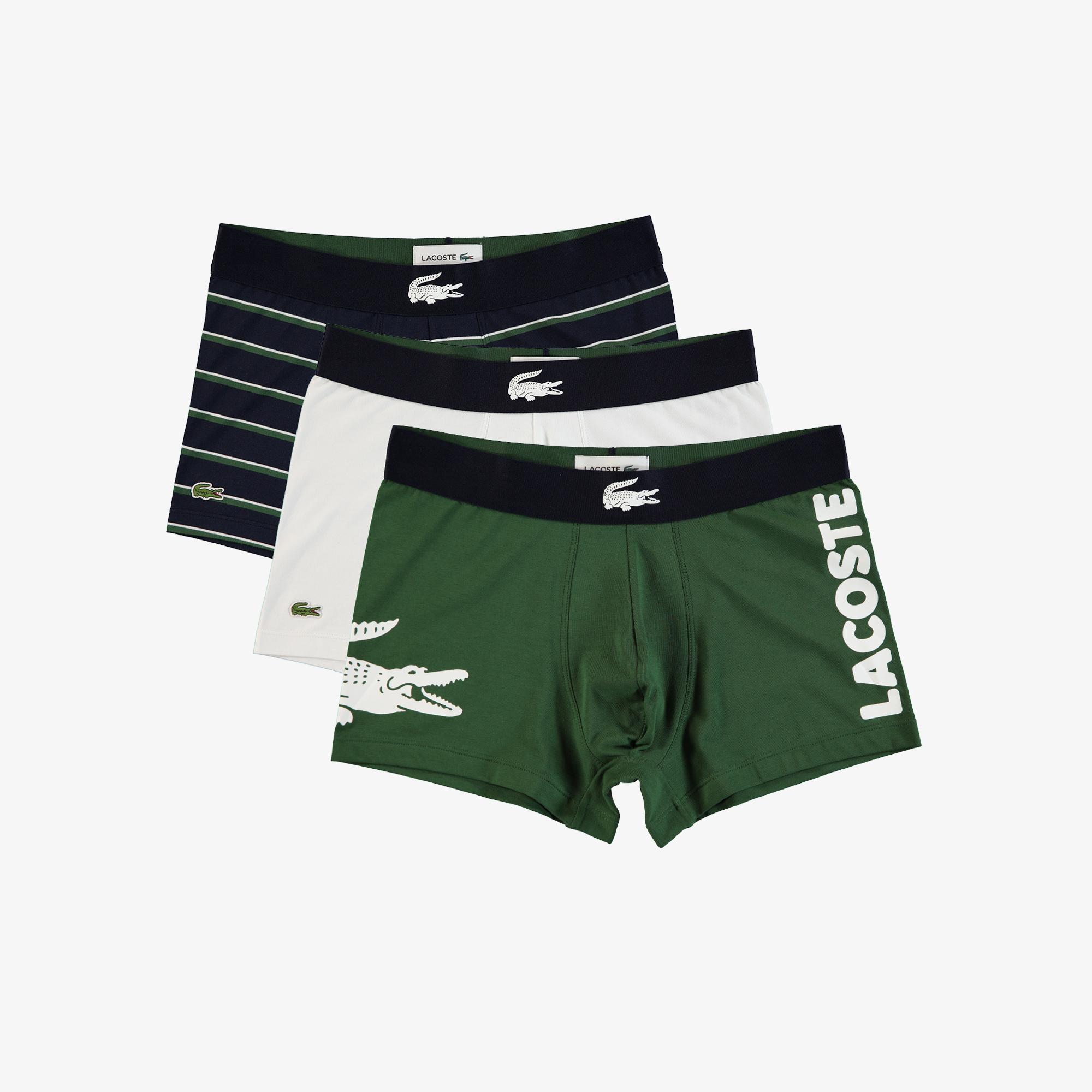 Lacoste Erkek Baskılı Renkli 3'lü Boxer