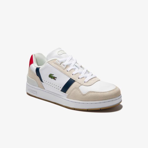 Lacoste T-Clip 0120 2 Sfa Kadın Beyaz - Lacivert - Kırmızı Sneaker