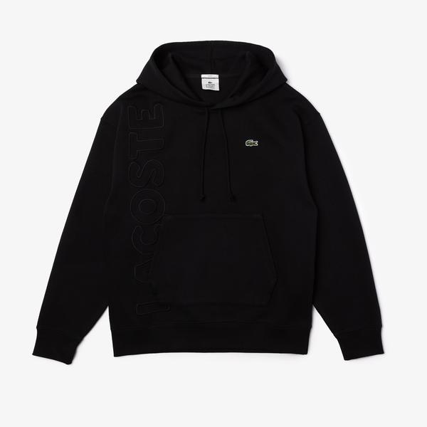 Lacoste L!VE Unisex Baskılı Kapüşonlu Siyah Sweatshirt