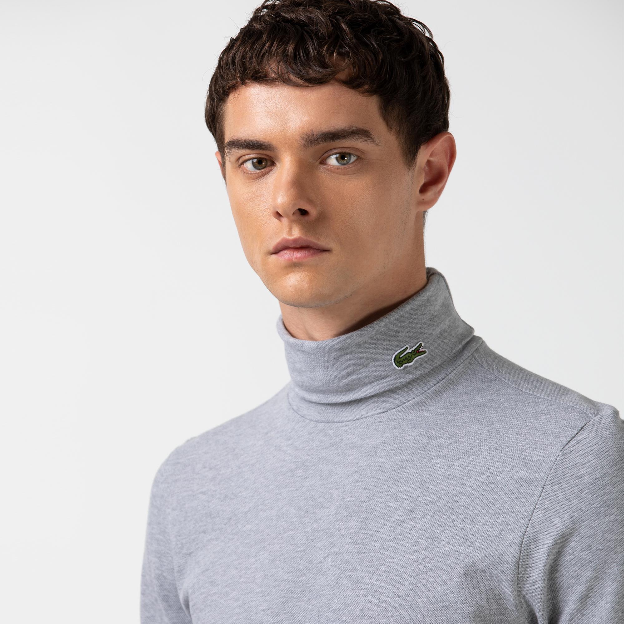 Lacoste Erkek Boğazlı Yaka Uzun Kollu Gri T-Shirt