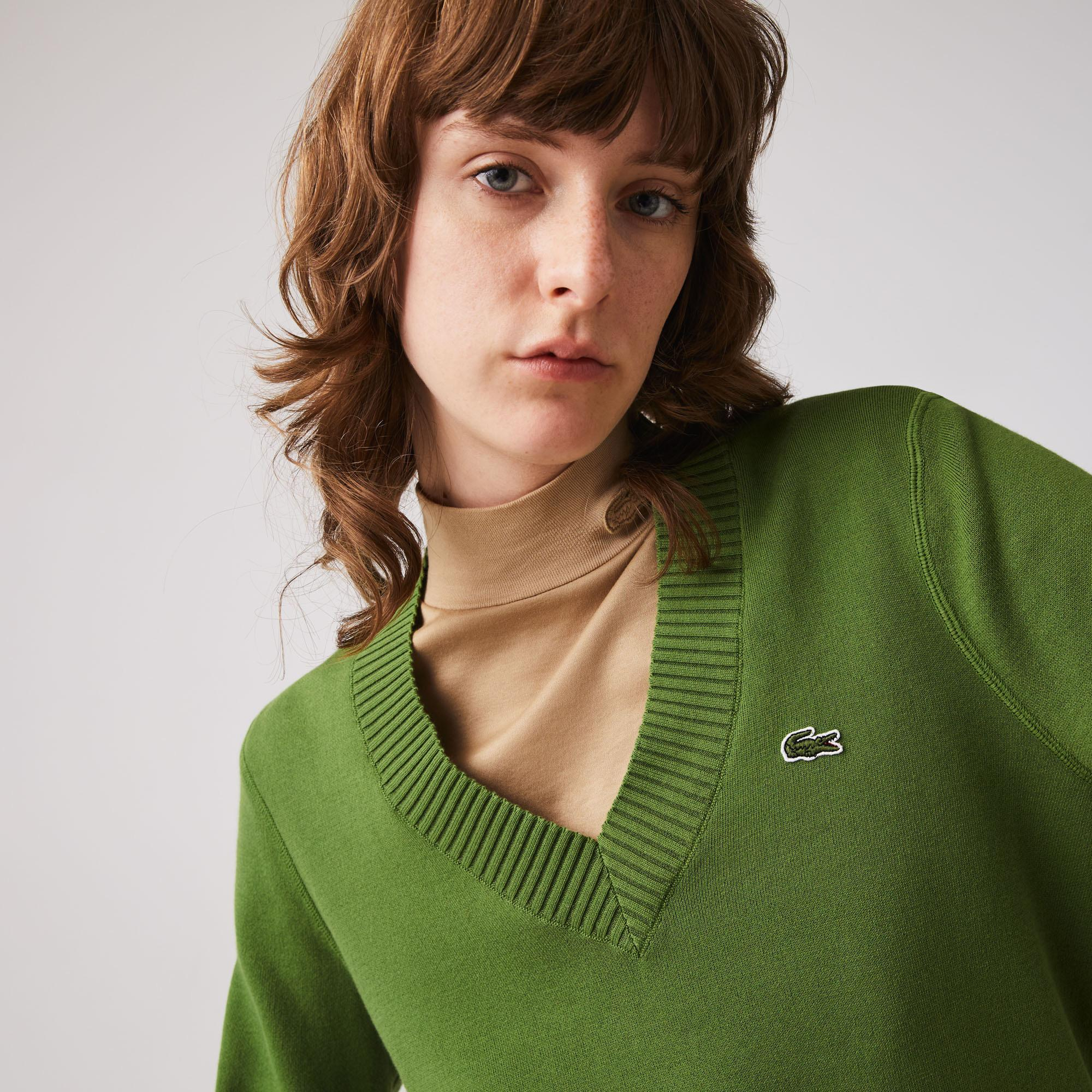 Lacoste Kadın V Yaka Yeşil Triko Kazak