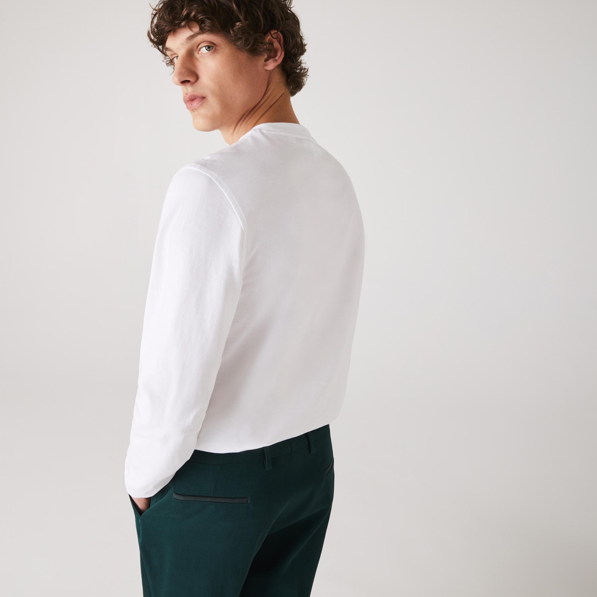 Lacoste Erkek Baskılı Uzun Kollu Beyaz T-Shirt