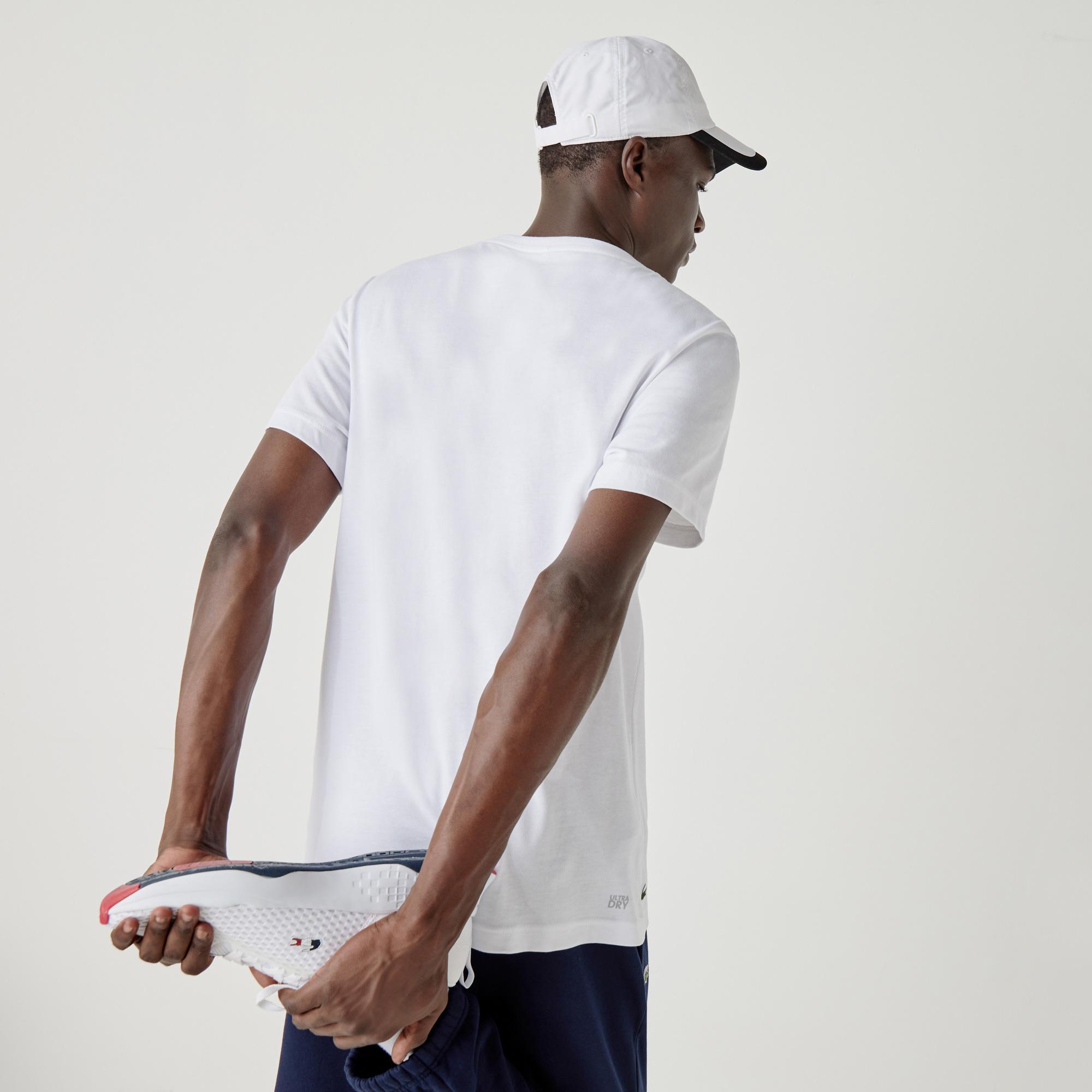 Lacoste Sport Erkek Baskılı Bisiklet Yaka Kısa Kollu Beyaz T-Shirt