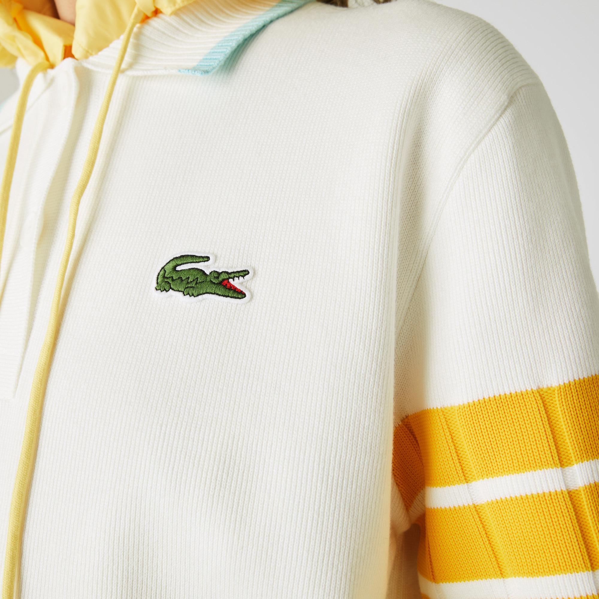 Lacoste Kadın Polo Yaka Çizgili Yarım Kollu Beyaz Triko