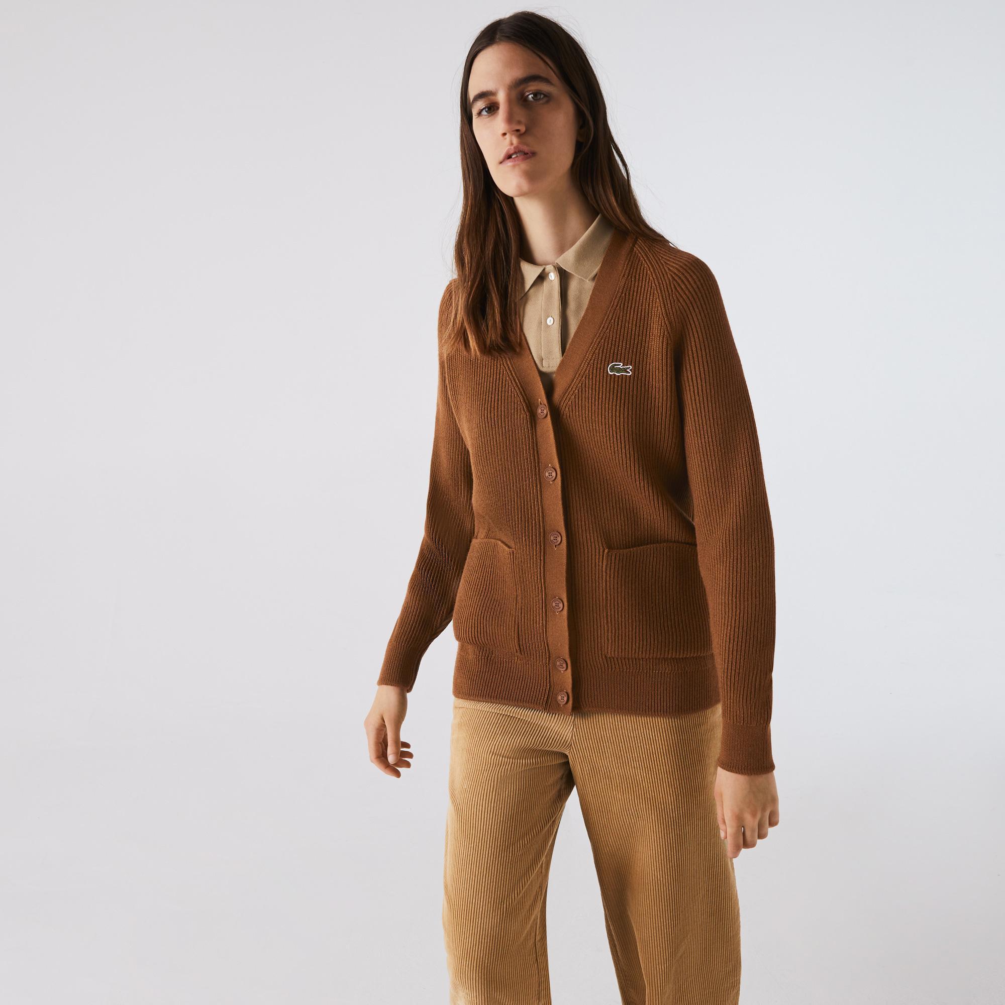 Lacoste Kadın Uzun Kollu Kahverengi Hırka