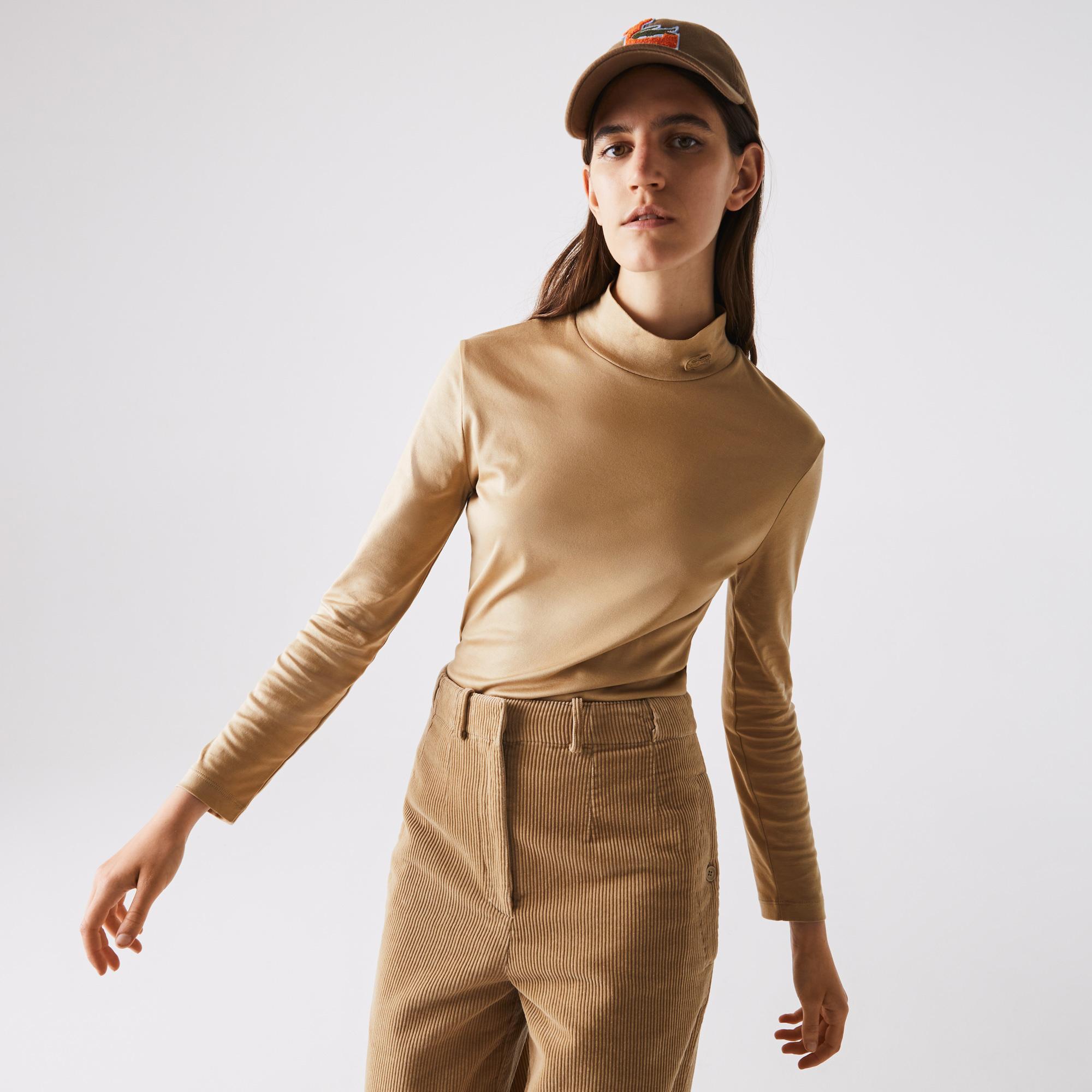 Lacoste Kadın Boğazlı Yaka Uzun Kollu Bej T-Shirt