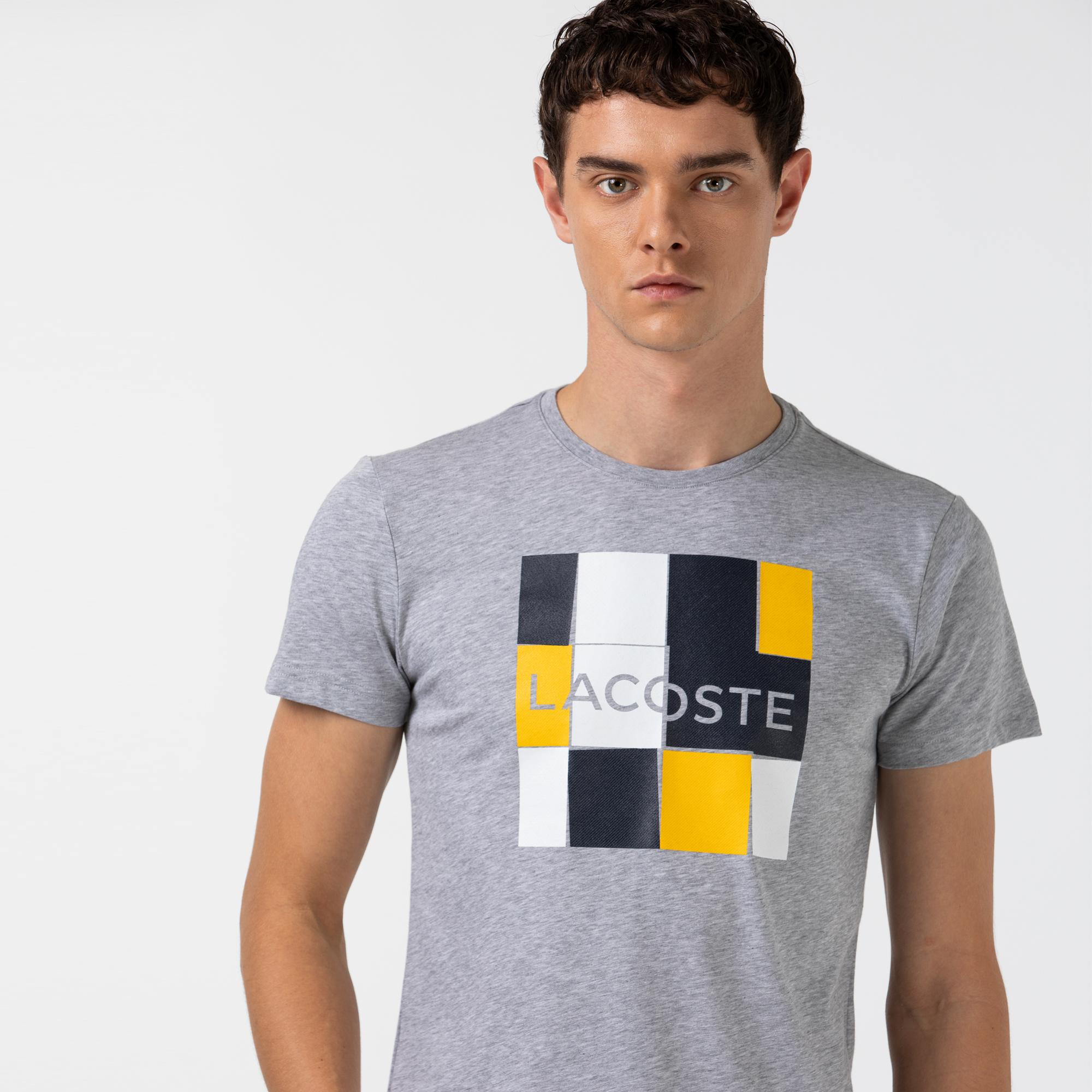 Lacoste Sport Erkek Baskılı Bisiklet Yaka Gri T-Shirt