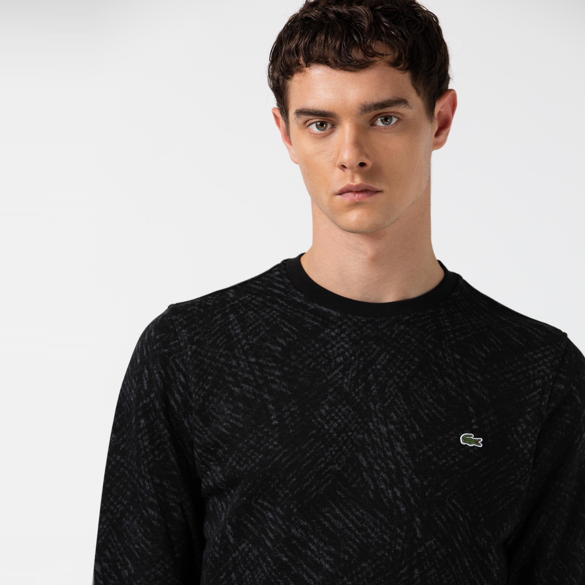 Lacoste Erkek Baskılı Bisiklet Yaka Siyah Sweatshirt