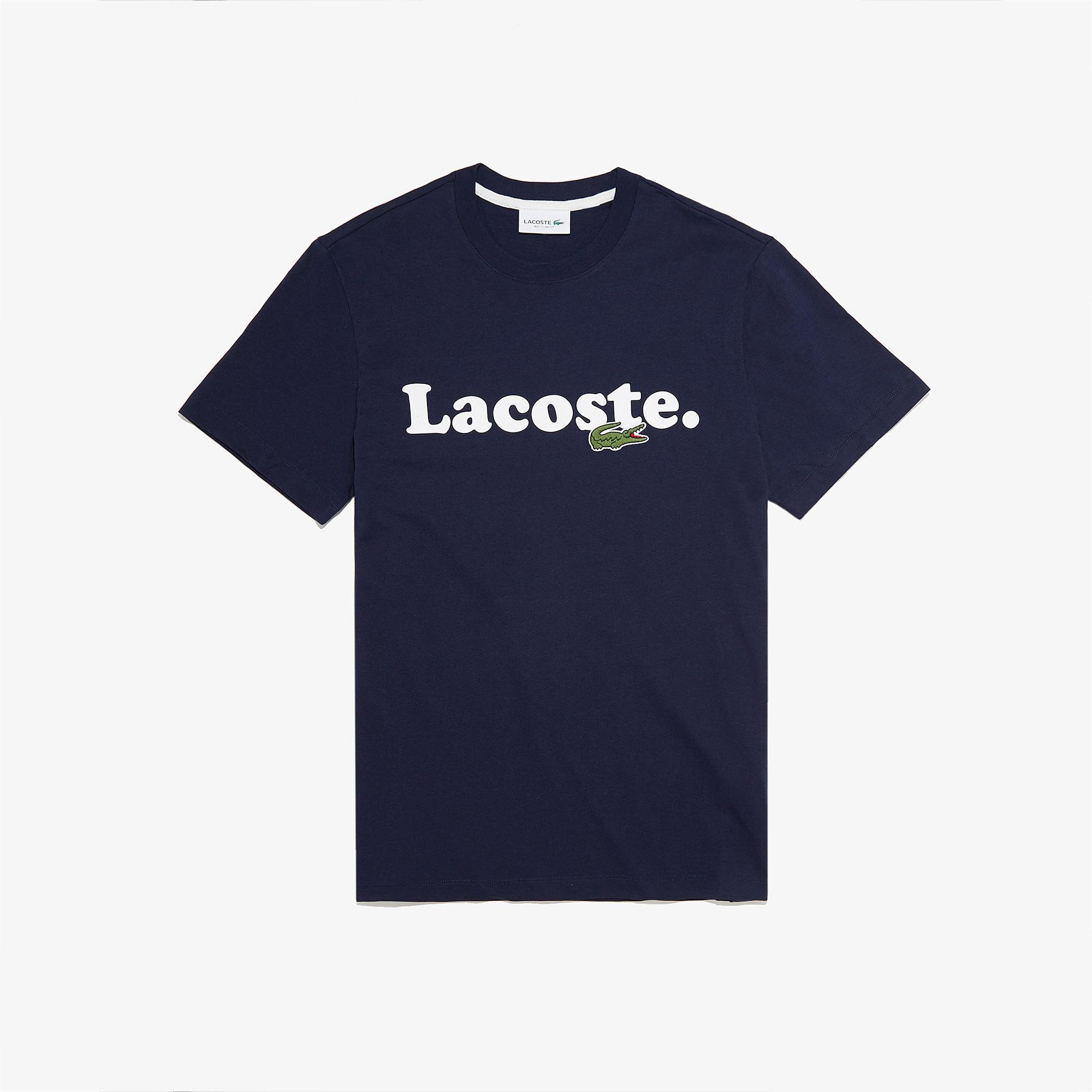 Lacoste Erkek Baskılı Bisiklet Yaka Lacivert T-Shirt