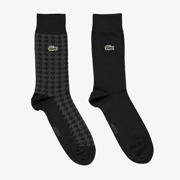 Lacoste Unisex Desenli Uzun Siyah 2'li Çorap