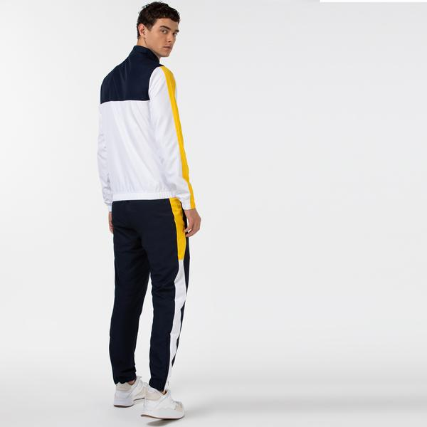 Lacoste Sport Erkek Blok Desenli Fermuarlı Uzun Kollu Renkli Eşofman Takımı