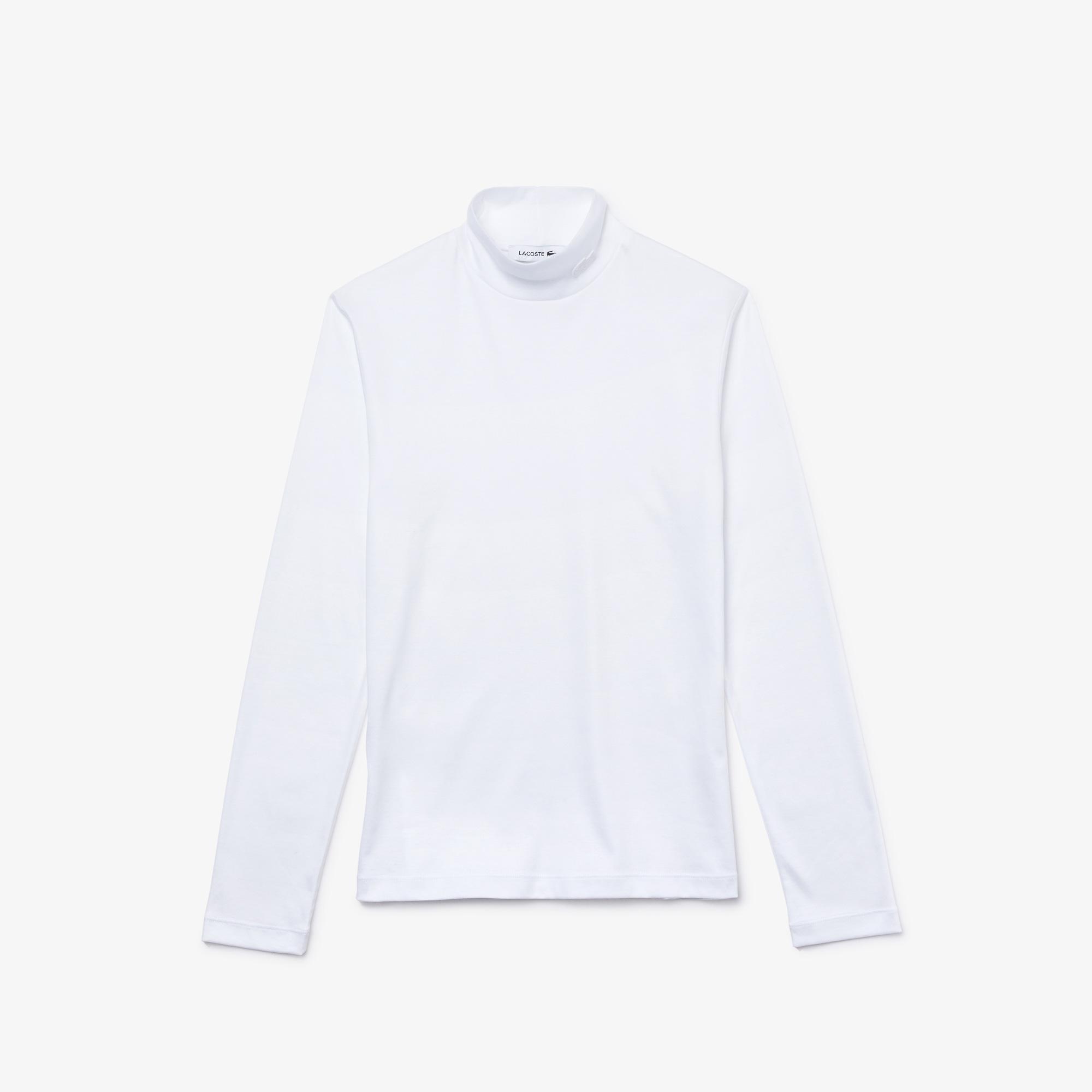 Lacoste Kadın Boğazlı Yaka Uzun Kollu Beyaz T-Shirt