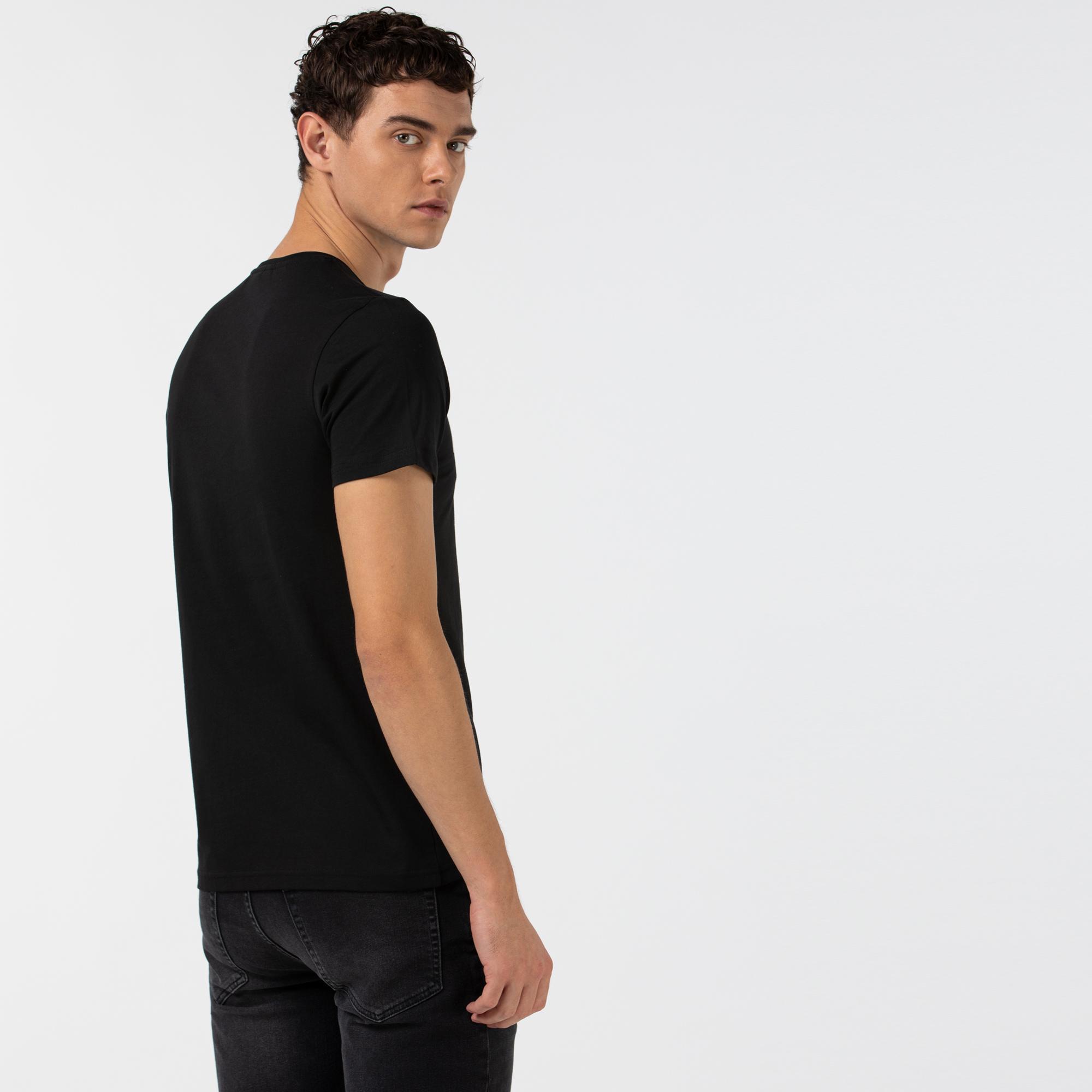 Lacoste Erkek Baskılı Bisiklet Yaka Siyah T-Shirt
