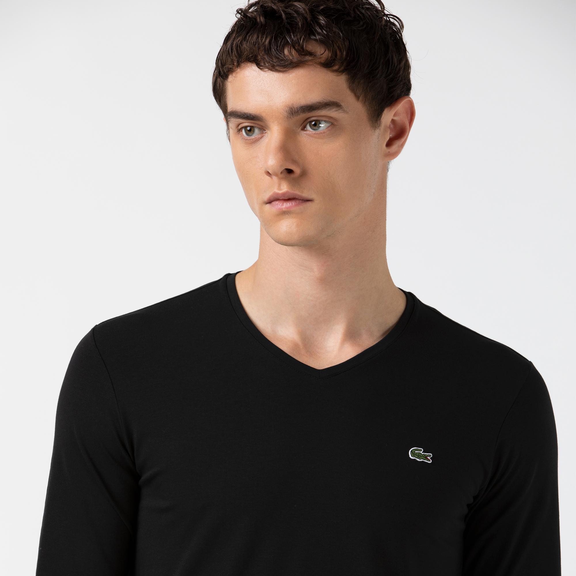 Lacoste Erkek V Yaka Uzun Kollu Siyah T-Shirt