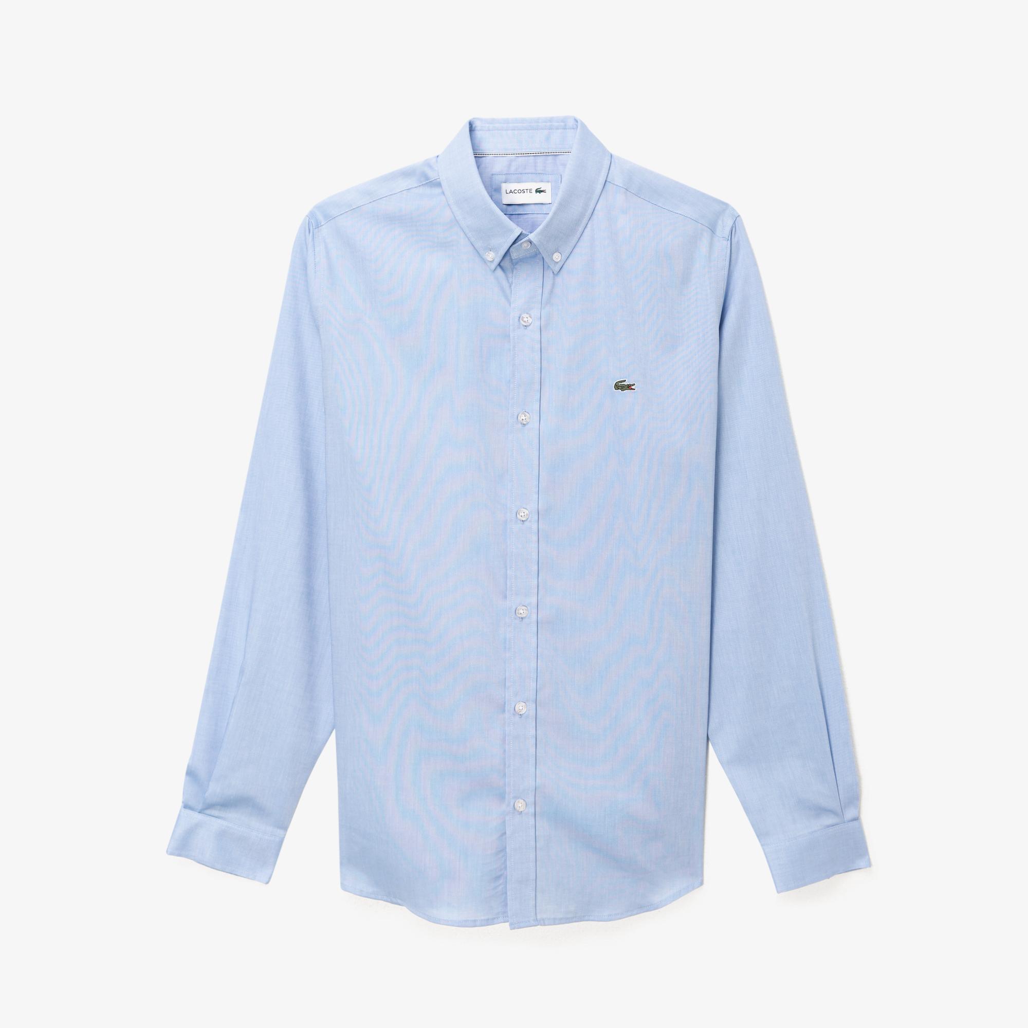 Lacoste Erkek Regular Fit Düğmeli Yaka Mavi Gömlek