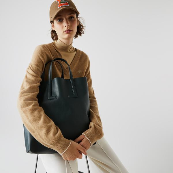 Lacoste Duo Bag Kadın Deri Yeşil - Lacivert Çapraz Çanta