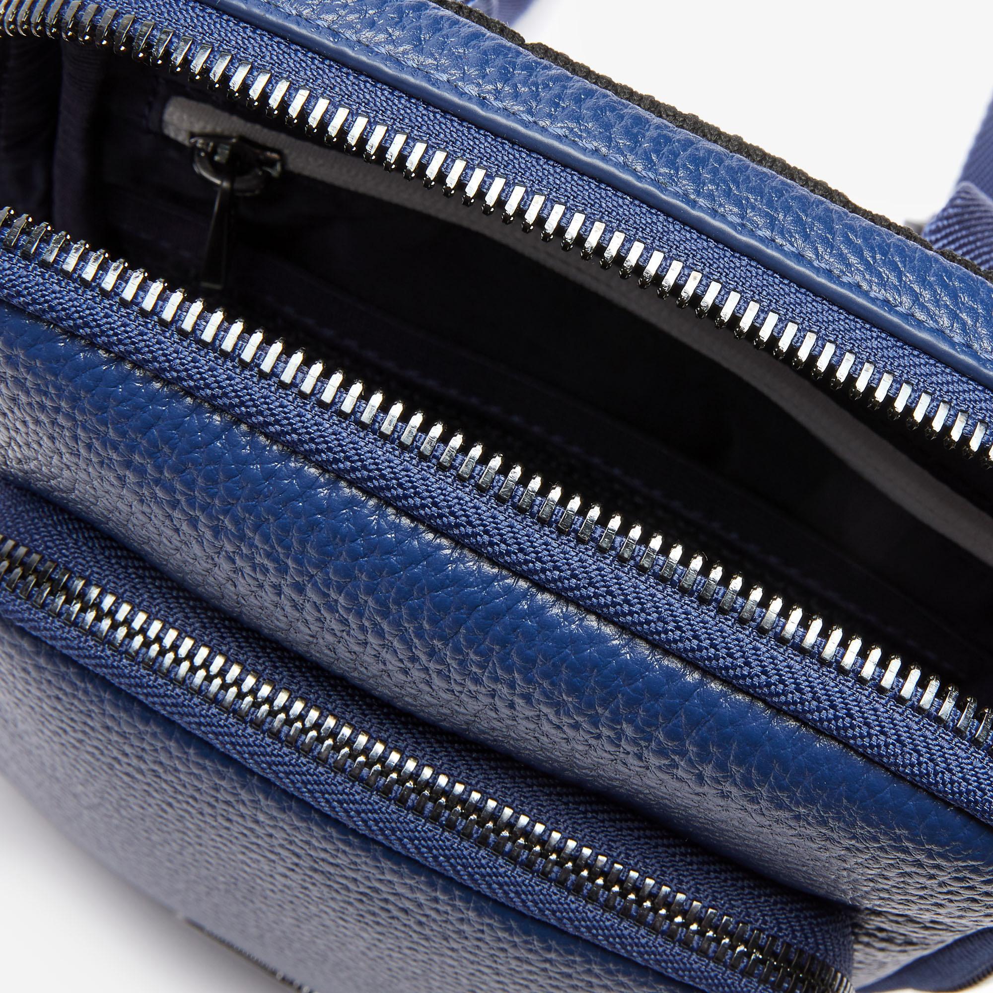 Lacoste Soft Mate Erkek Deri Mavi Kamera Çantası