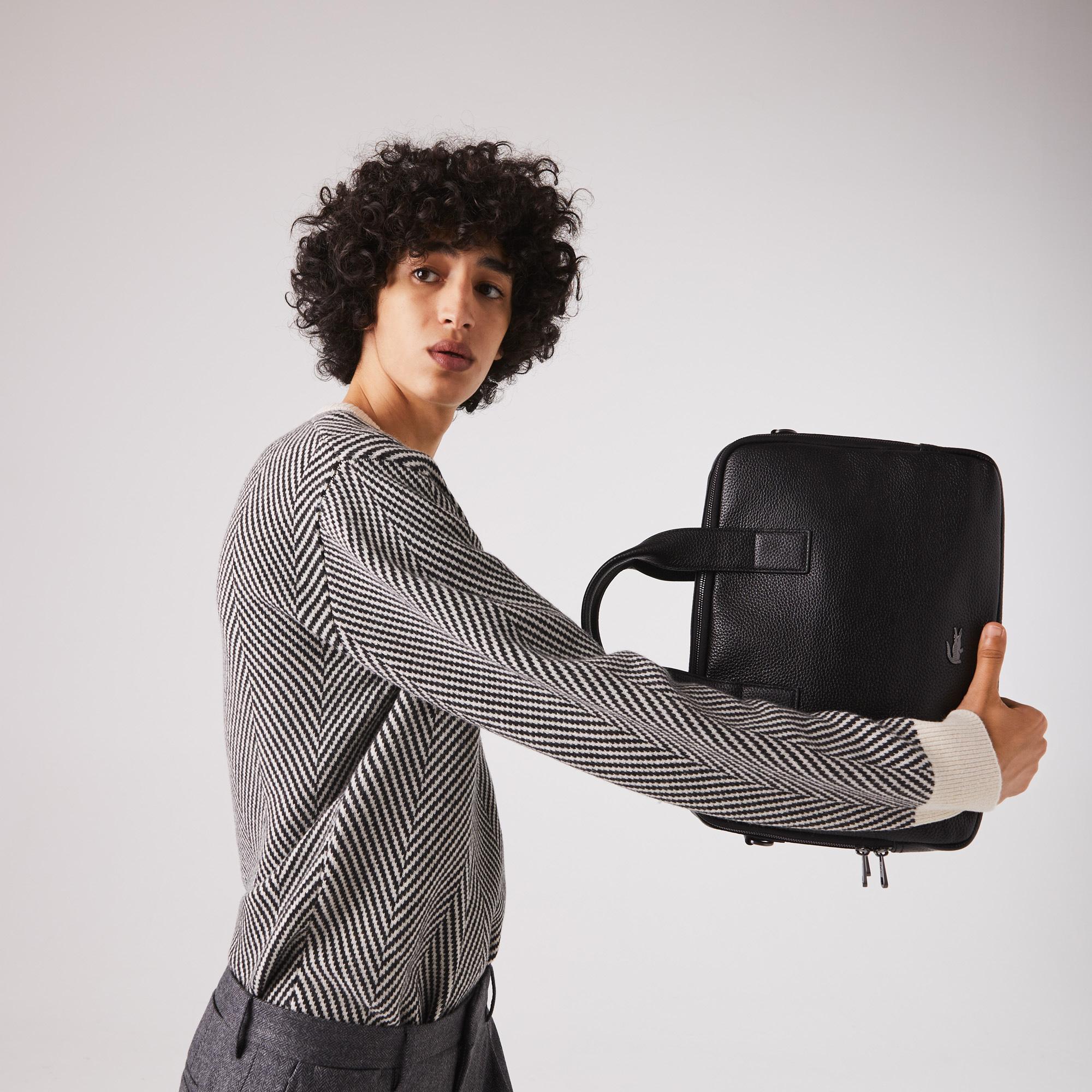 Lacoste Soft Mate Erkek Deri Siyah Bilgisayar Çantası