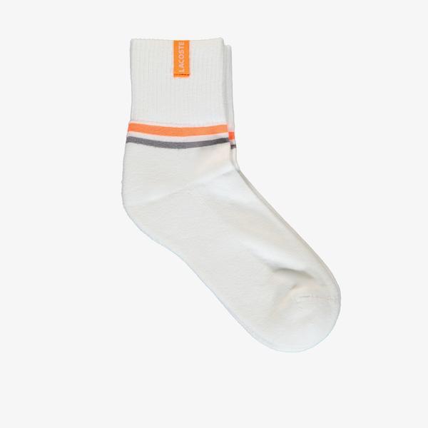 Lacoste Unisex Çizgili Kısa Baskılı Beyaz Çorap
