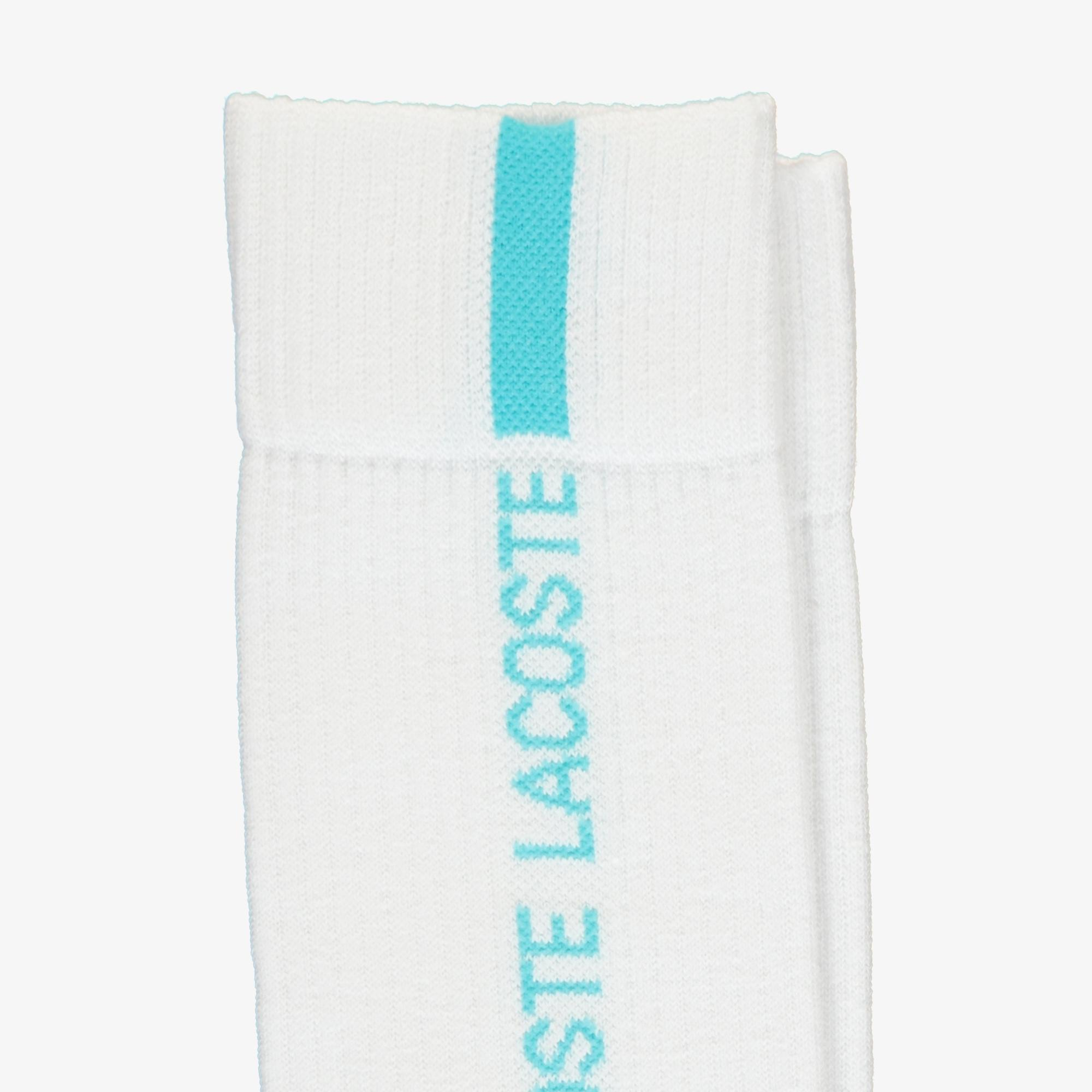 Lacoste Unisex Uzun Baskılı Beyaz Çorap