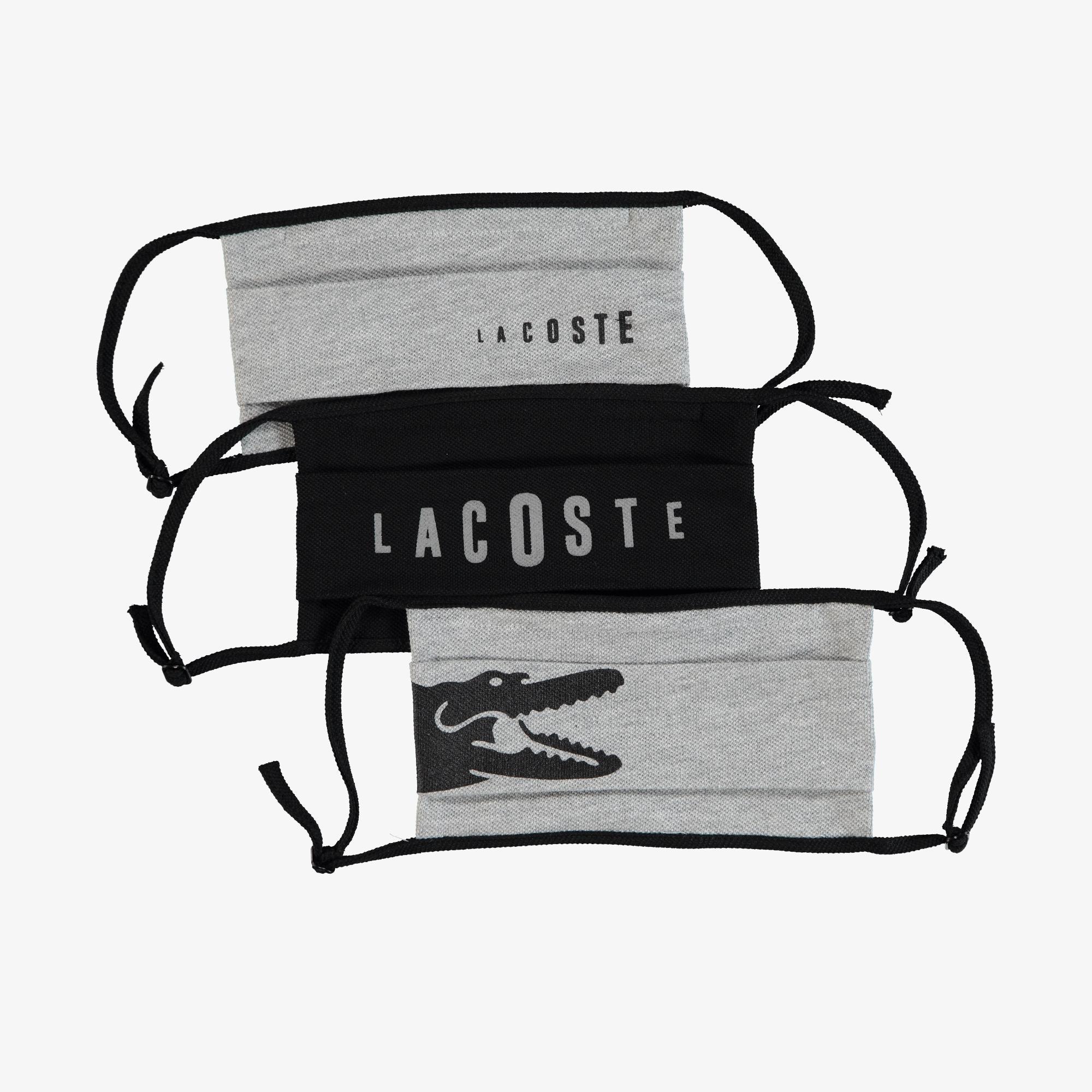Lacoste Pamuklu Yıkanabilir Gri - Siyah Baskılı 3'lü Maske