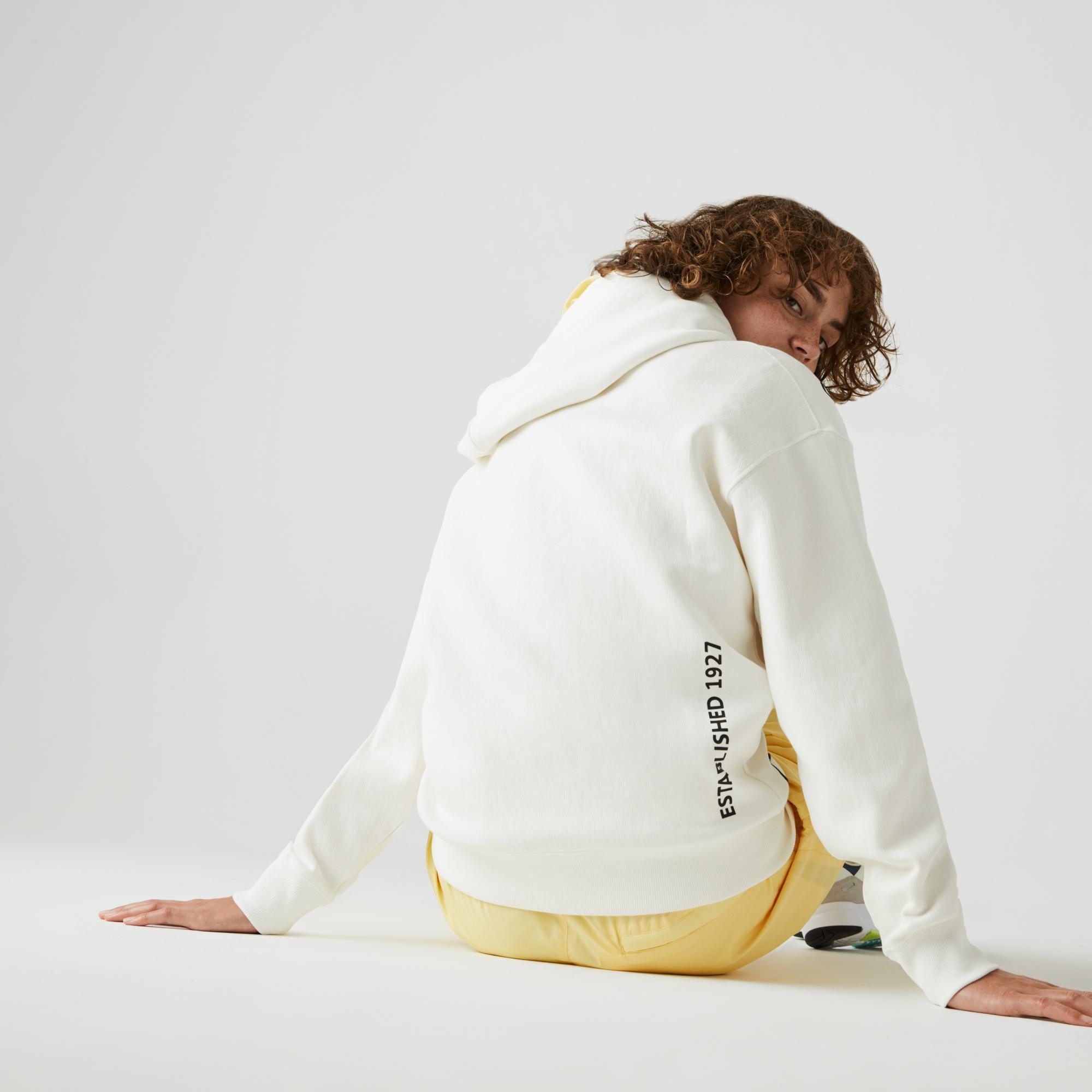 Lacoste L!VE Unisex Baskılı Kapüşonlu Beyaz Sweatshirt