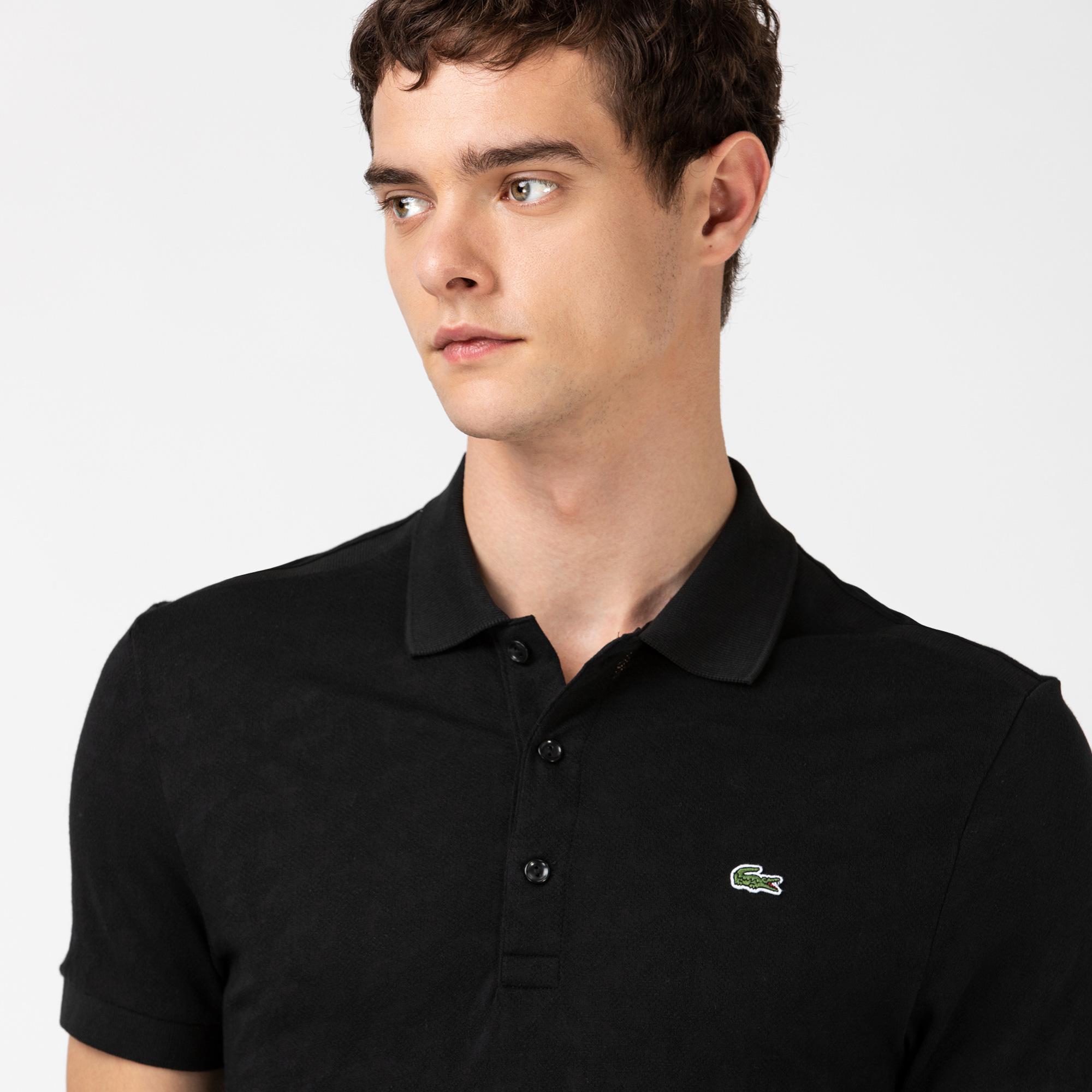 Lacoste Erkek Slim Fit Desenli Siyah Polo