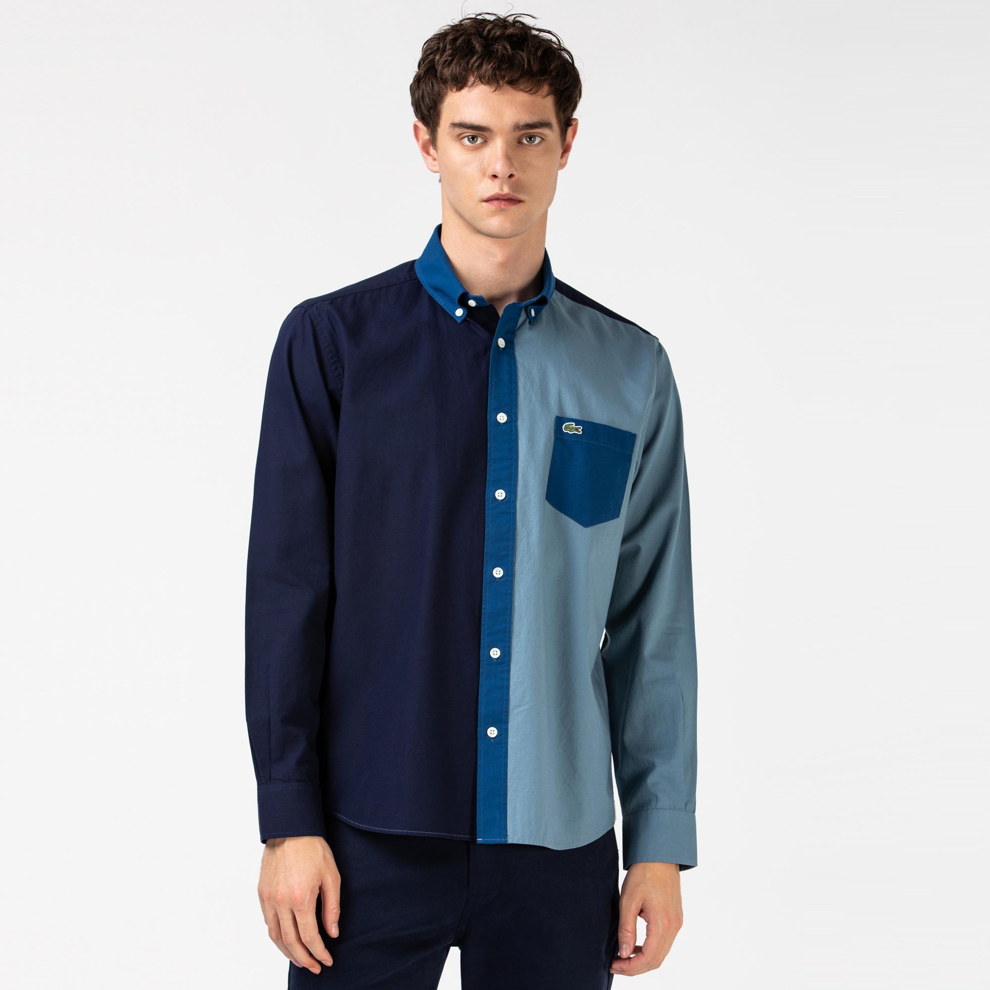 Lacoste Erkek Relax Fit Blok Desenli Mavi Gömlek