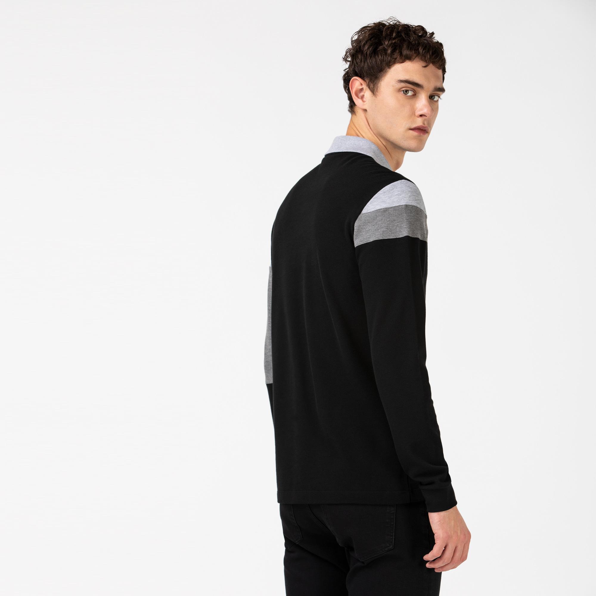 Lacoste Erkek Regular Fit Blok Desenli Uzun Kollu Siyah Polo
