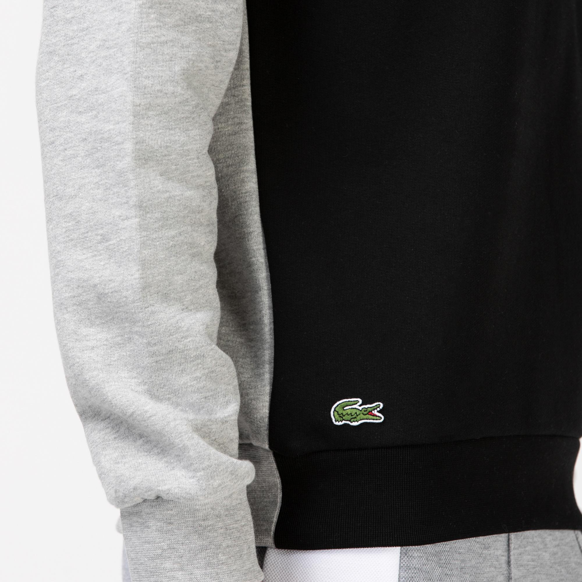 Lacoste Sport Erkek Blok Desenli Baskılı Bisiklet Yaka Gri Sweatshirt