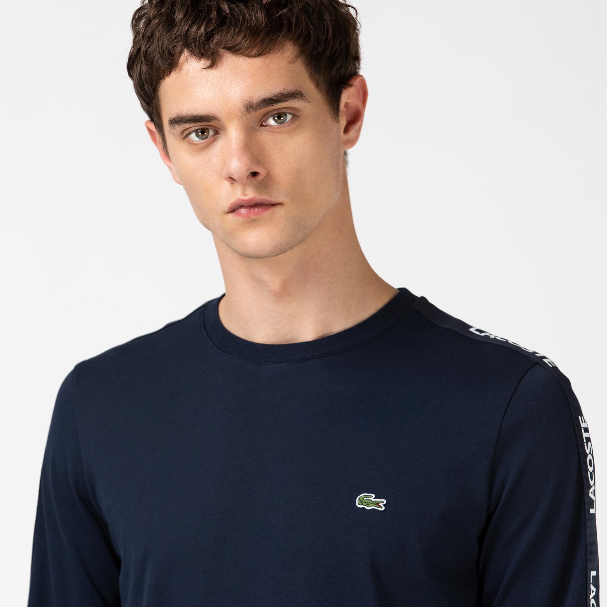 Lacoste Erkek Baskılı Bisiklet Yaka Uzun Kollu Lacivert T-Shirt