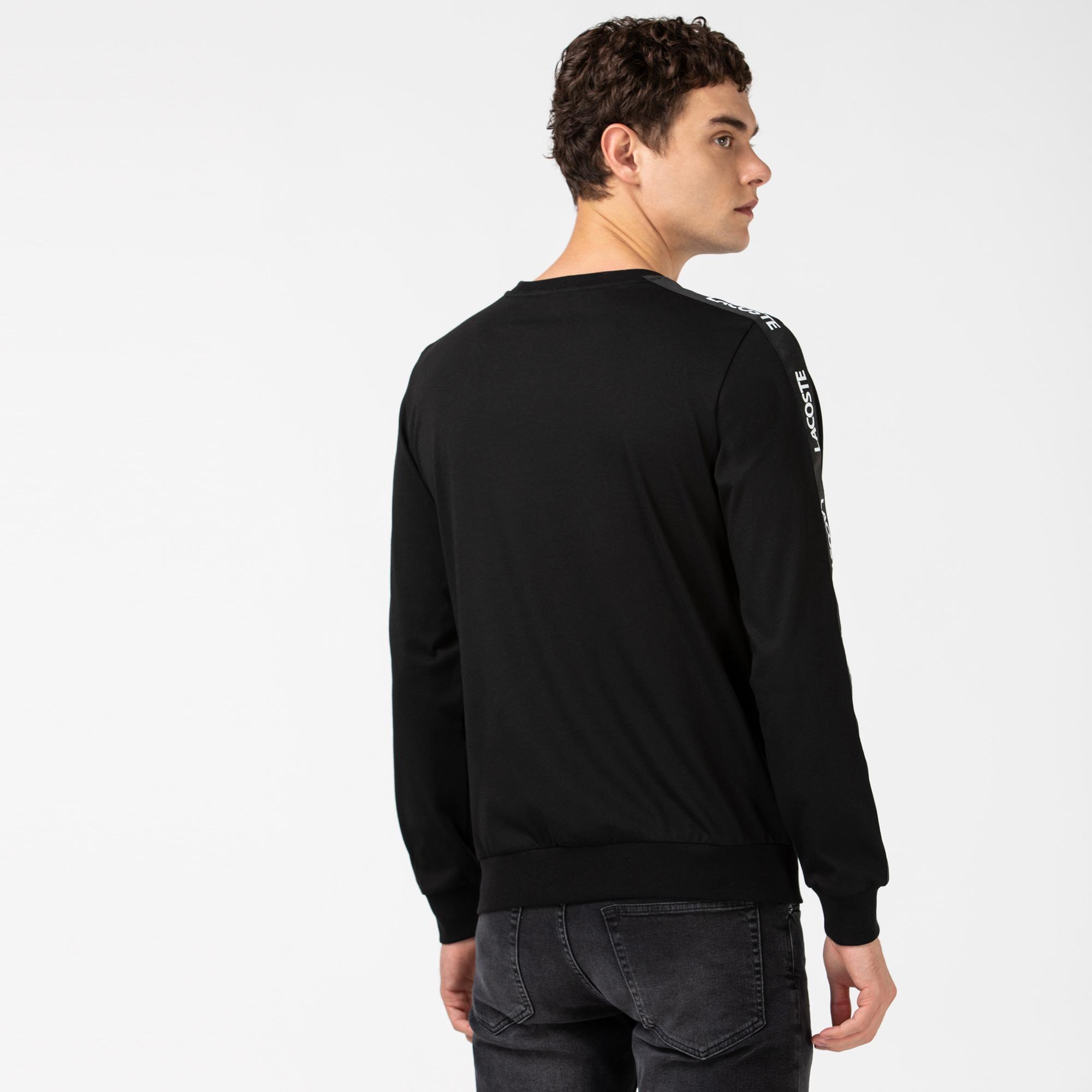 Lacoste Erkek Baskılı Bisiklet Yaka Uzun Kollu Siyah T-Shirt