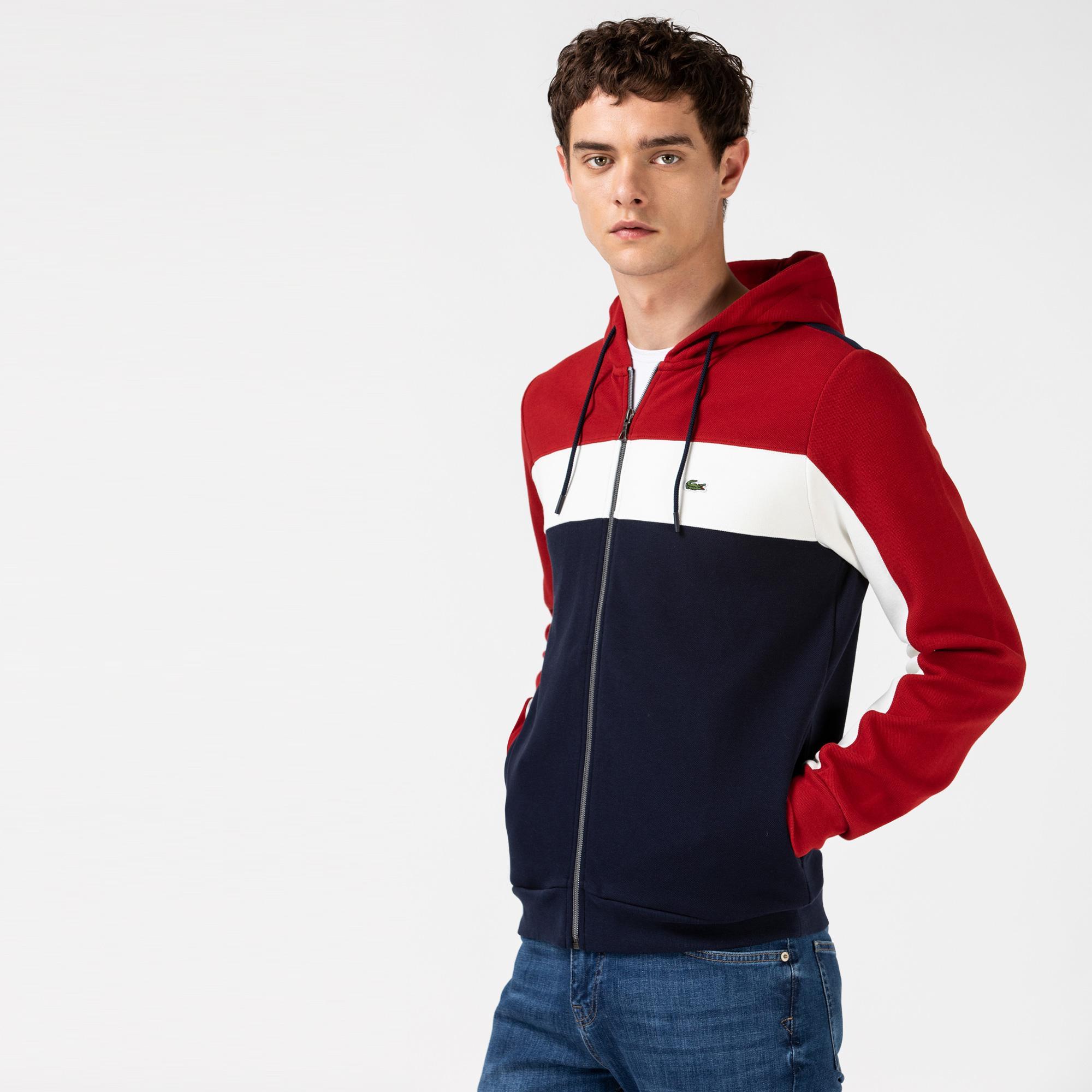Lacoste Erkek Blok Desenli Kapüşonlu Renkli Sweatshirt
