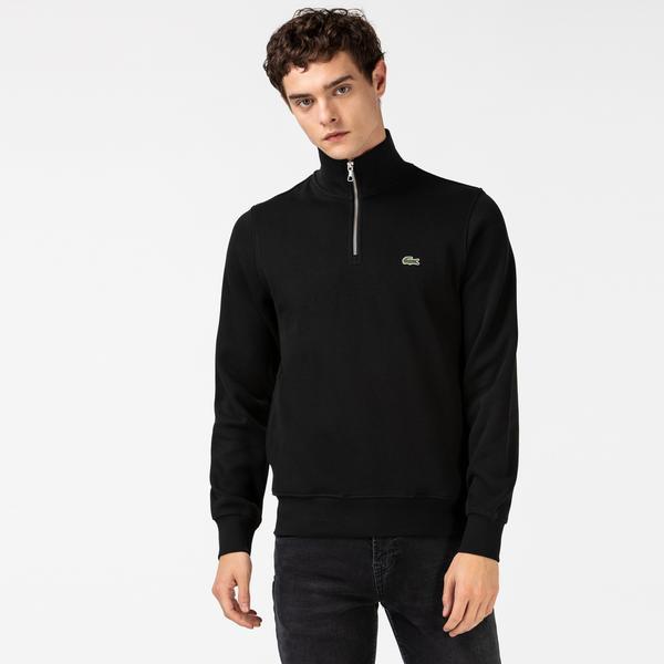Lacoste Erkek Classic Fit Yarım Fermuarlı Siyah Sweatshirt