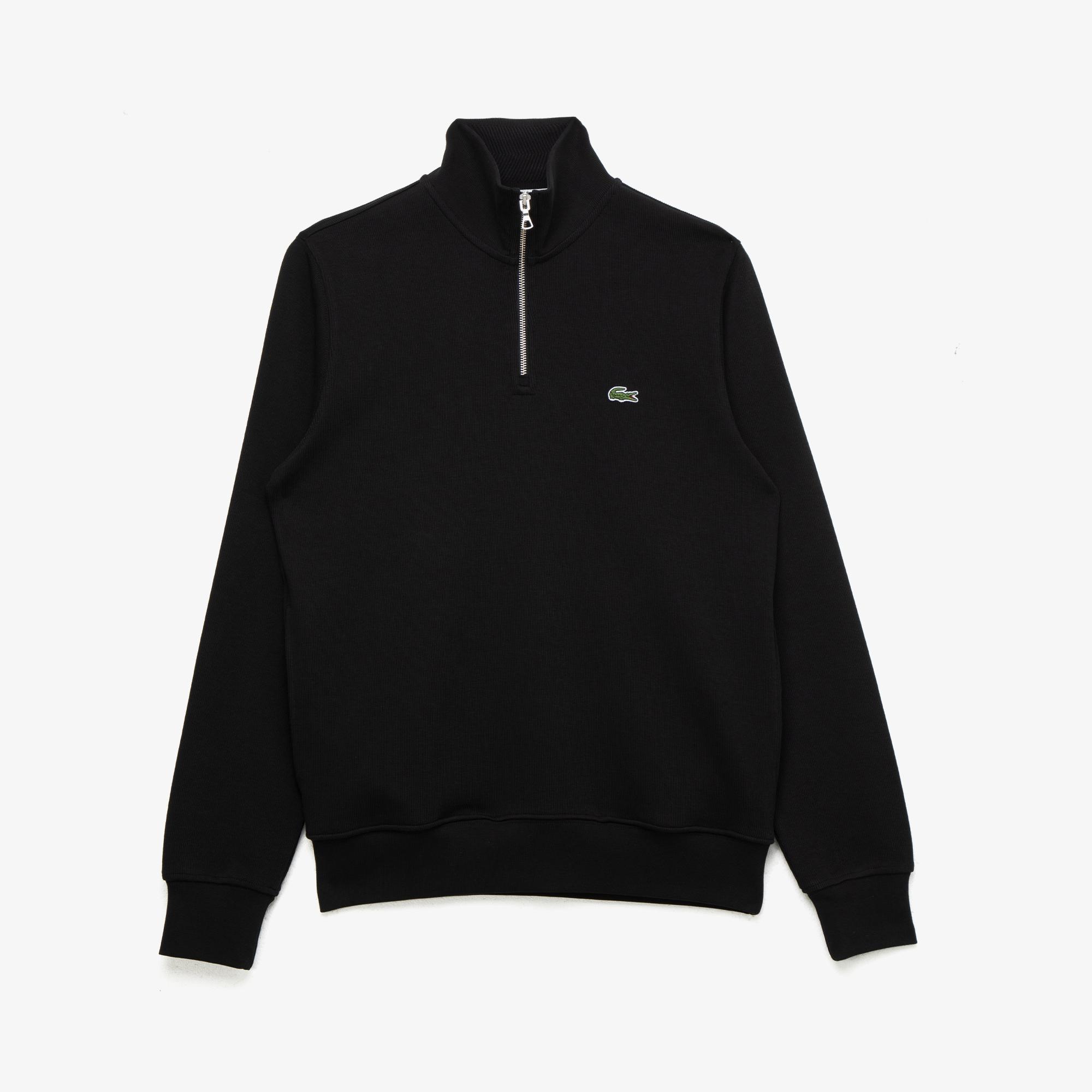 Lacoste Erkek Fermuarlı Yaka Siyah Sweatshirt